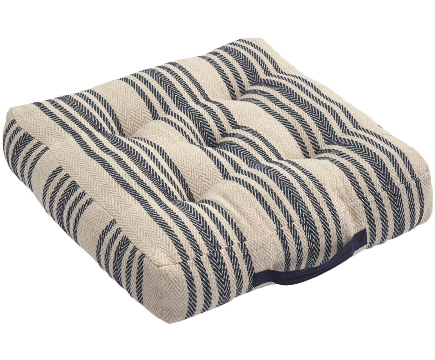 Poduszka podłogowa Puket, Ciemny niebieski, biały, S 60 x W 13 cm
