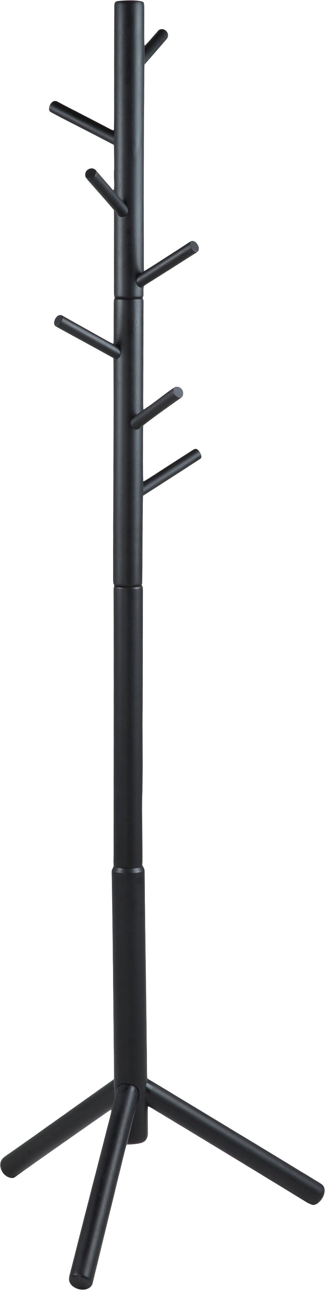 Wieszak stojący Bremen, Drewno kauczukowe, lakierowany, Czarny, S 51 x W 176 cm