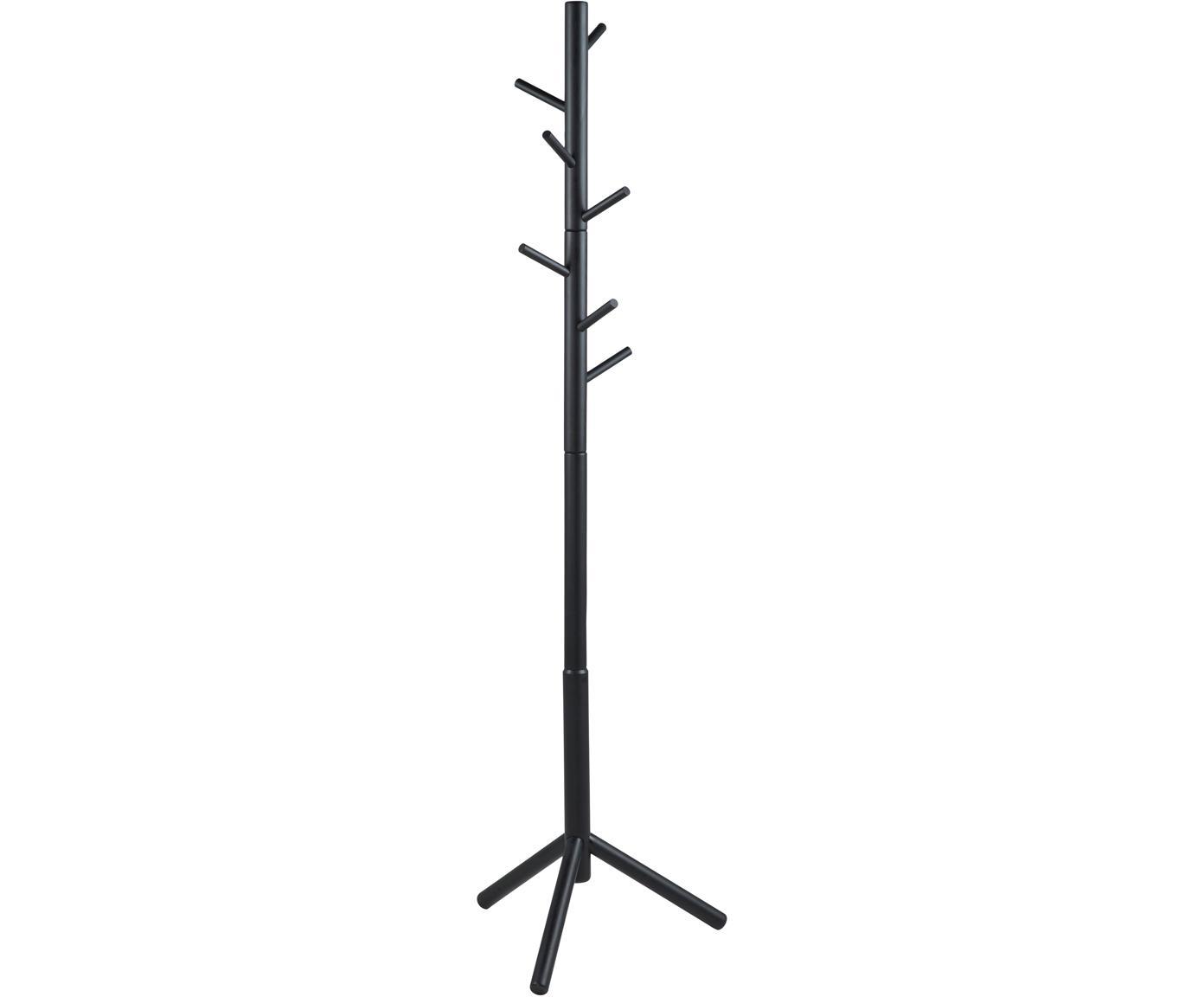 Appendiabiti in legno con 6 ganci Bremen, Caucciù, verniciato, Nero, Larg. 51 x Alt. 176 cm