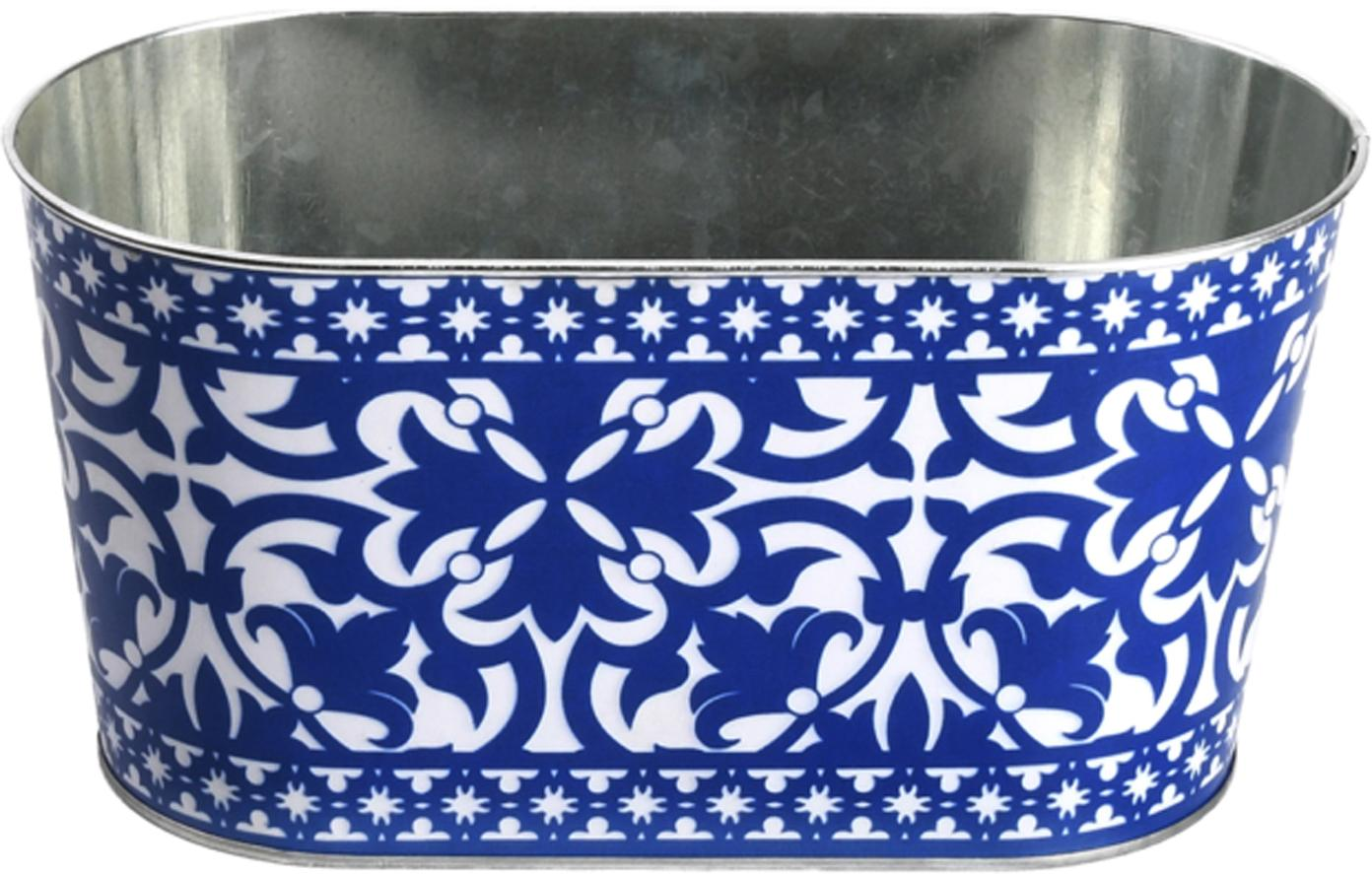 Grote plantenpot Barcelona van metaal, Metaal, Blauw, wit, 23 x 12 cm