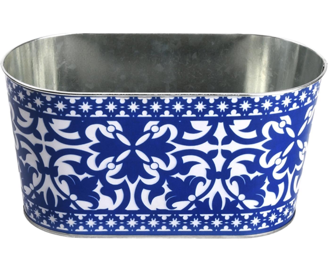 Übertopf Barcelona, Metall, beschichtet, Blau, Weiß, 23 x 12 cm