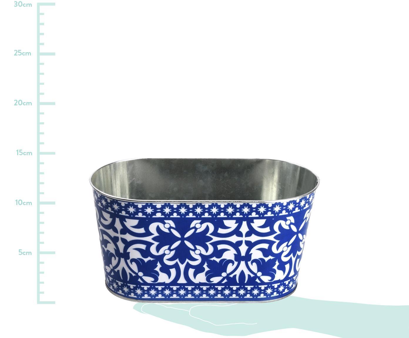 Portavaso Barcelona, Metallo, Blu, bianco, Larg. 23 x Alt. 12 cm