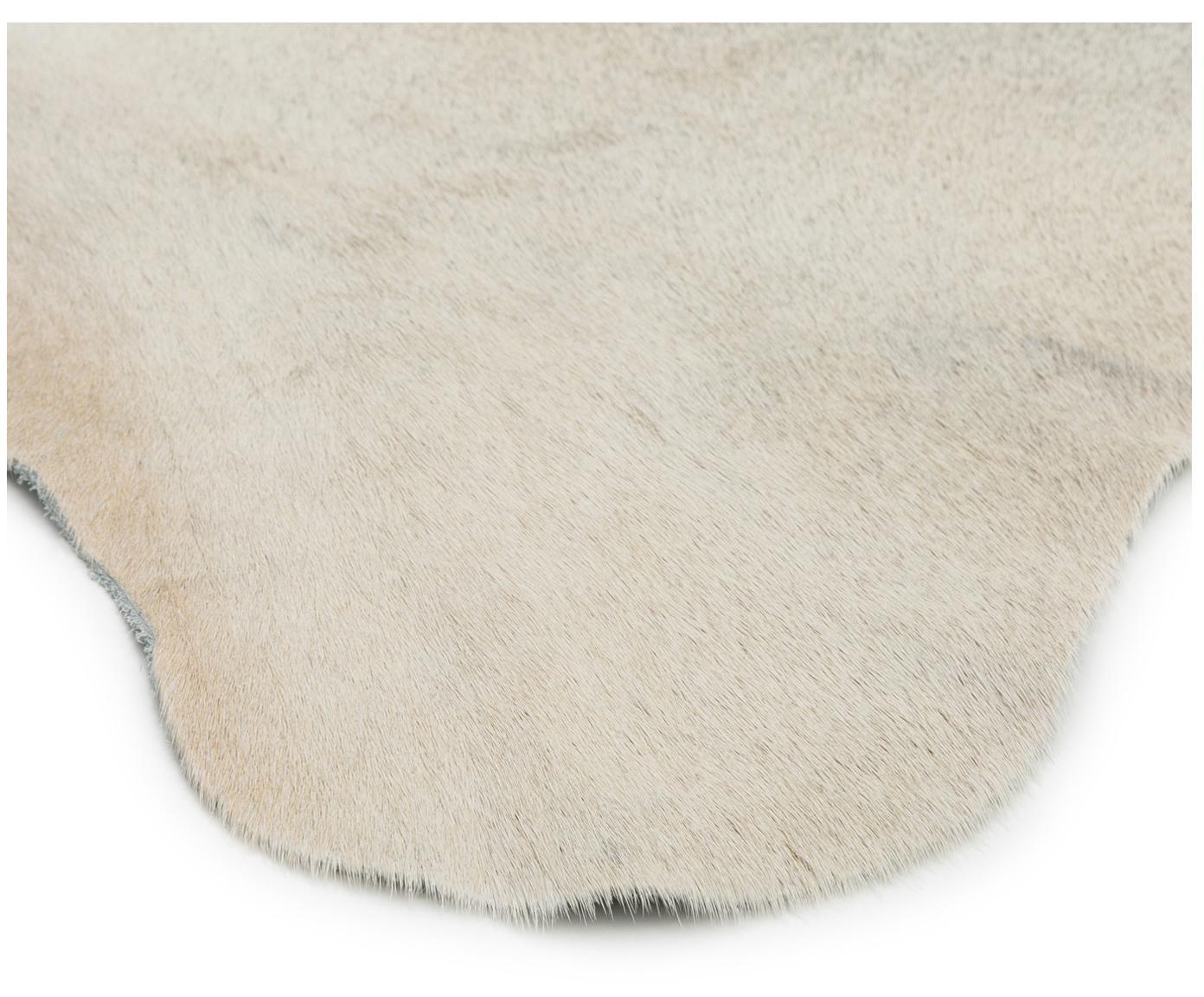 Vloerkleed van koeienhuid Anna, Koeienhuid, Wit, beige, Unieke koeienhuid 1090