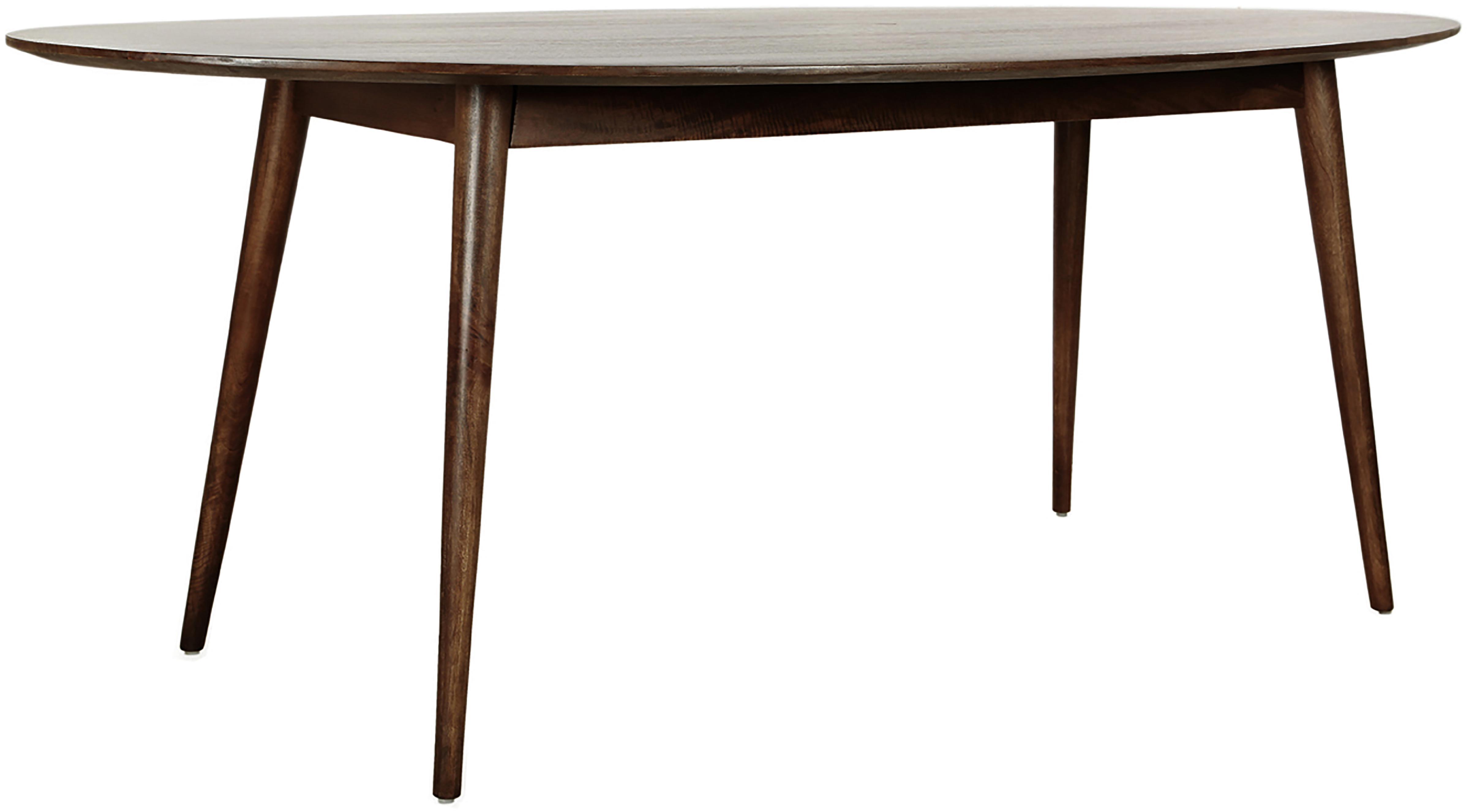 Ovaler Massivholz Esstisch Oscar, Mangoholz massiv, lackiert, Dunkelbraun, B 203 x T 97 cm