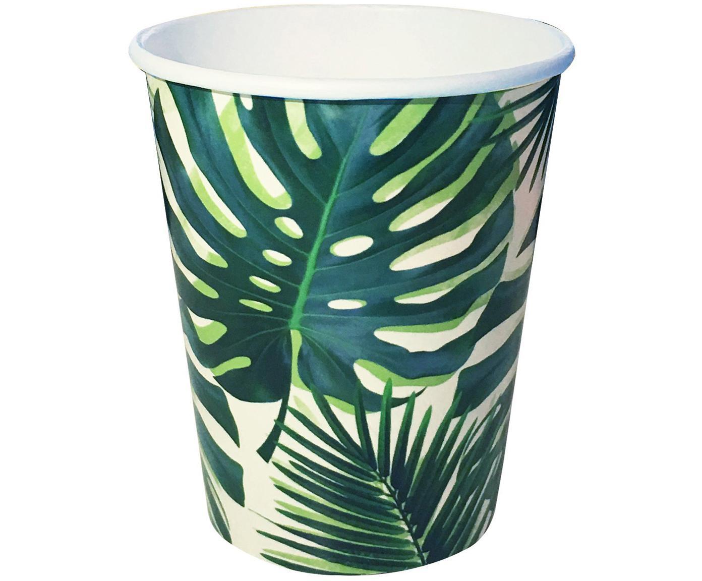 Tazza senza manico di carta Tropical Fiesta, 8 pz., Carta, Verde, bianco, Ø 8 x Alt. 14 cm