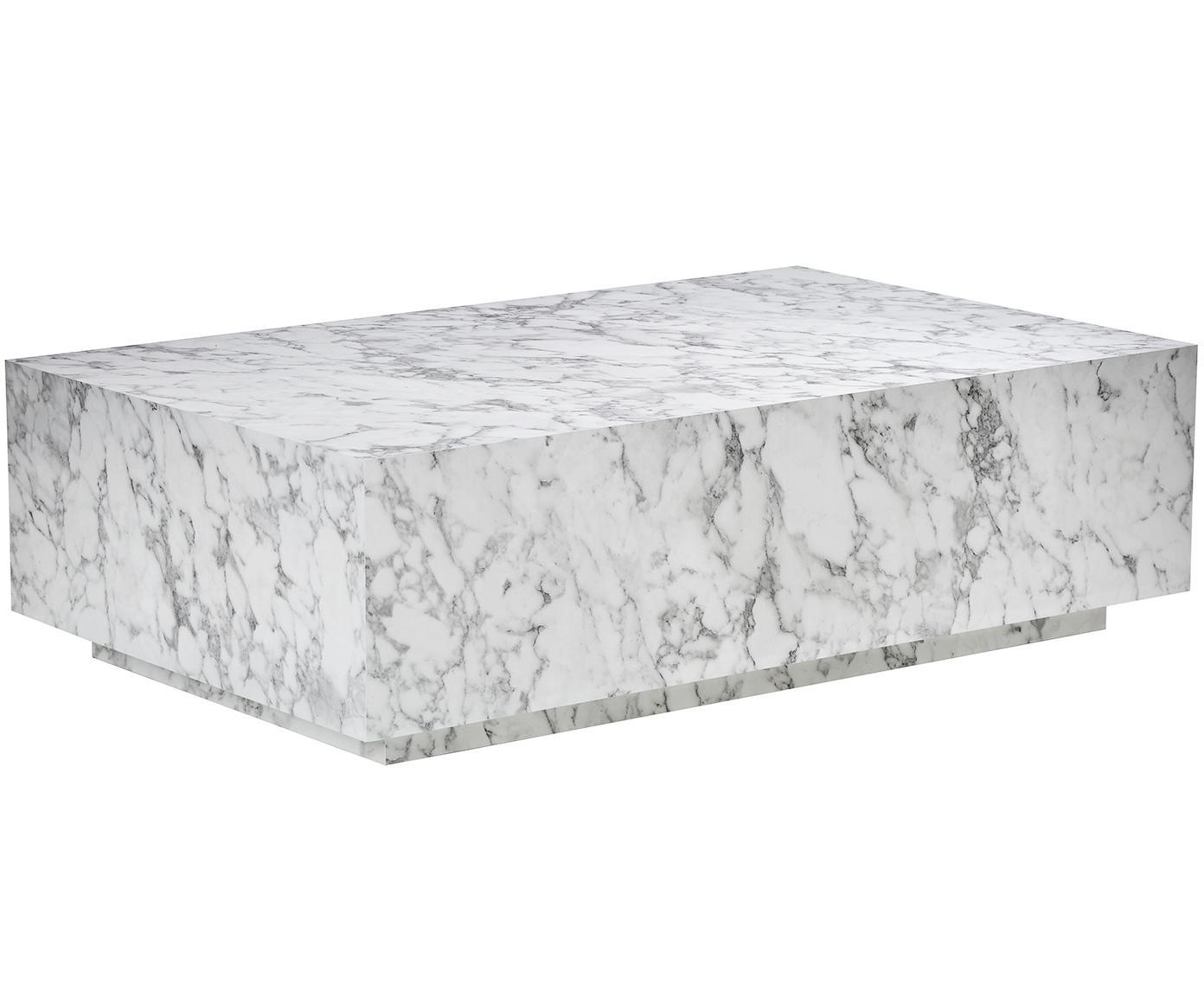 Zwevende salontafel Lesley met marmerlook, MDF bekleed met melaminefolie, Wit, gemarmerd, glanzend, B 120 x D 75 cm