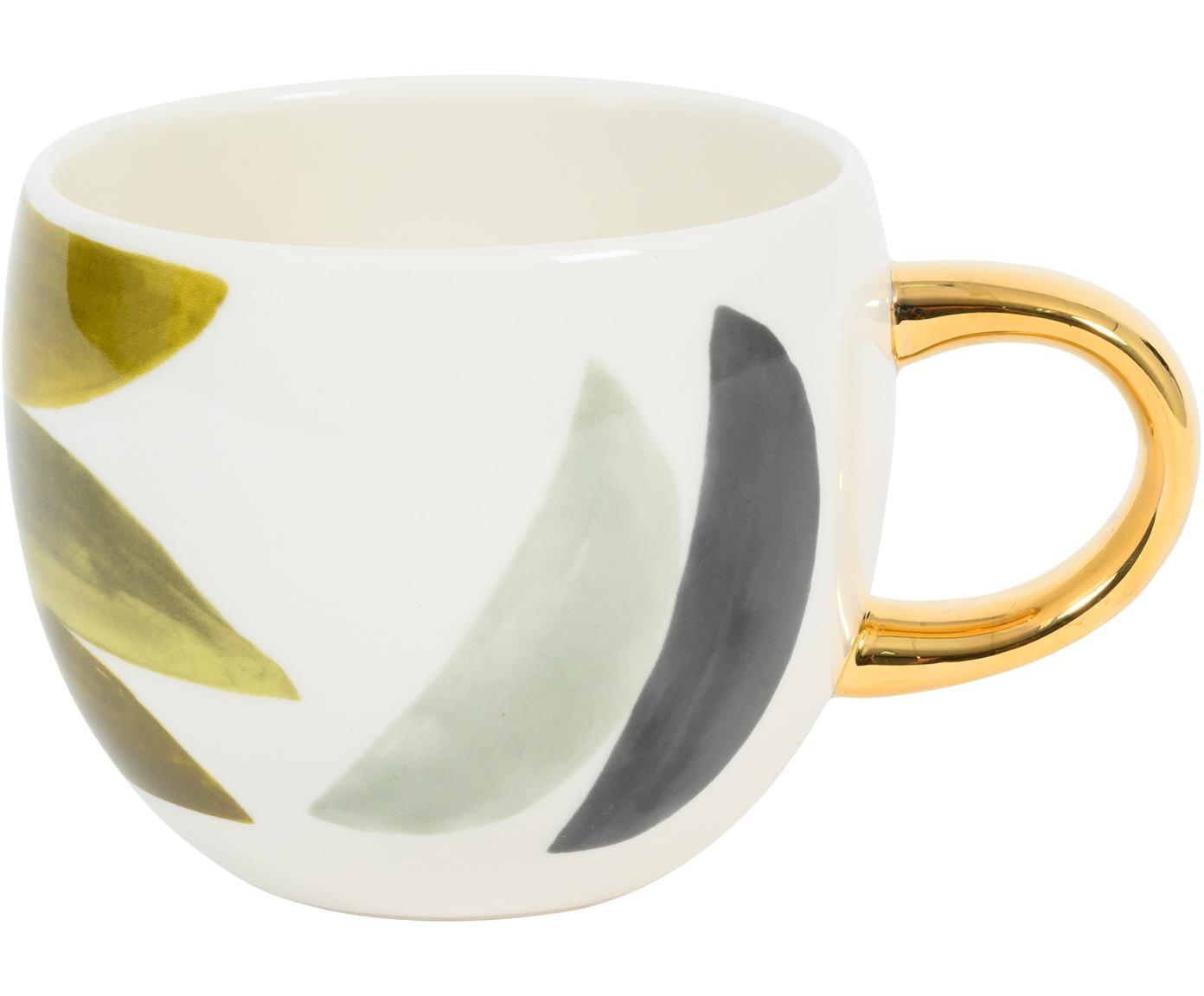 Koffiekopje Boomerang met goudkleurig handvat, Keramiek, Multicolour, Ø 11 cm