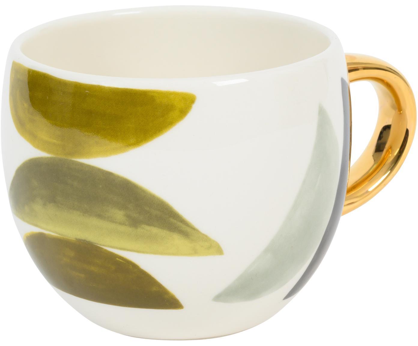 Bemalte Tasse Boomerang mit goldenem Griff, Steingut, Mehrfarbig, Ø 11 x H 9 cm