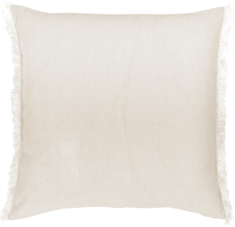 Federa arredo in lino beige chiaro con frange Luana, 100% lino, Beige, Larg. 60 x Lung. 60 cm