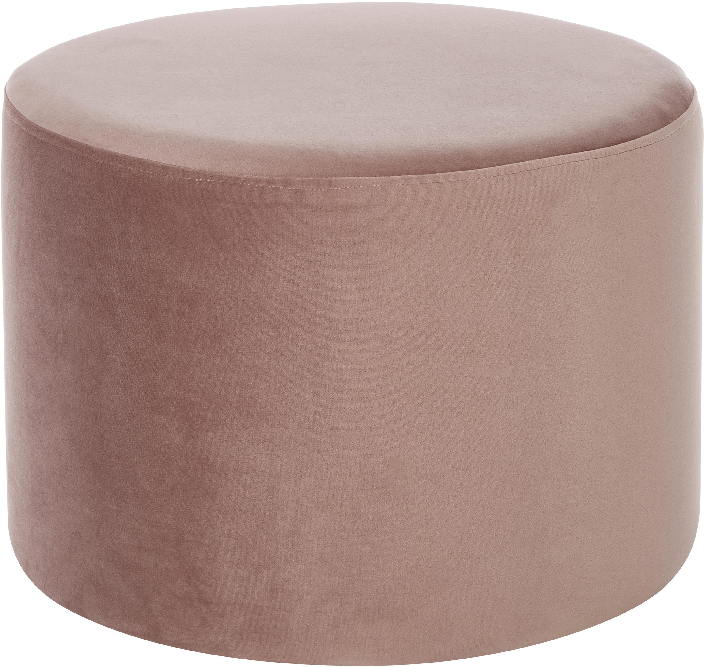 Puf z aksamitu Daisy, Tapicerka: aksamit (poliester), Tapicerka: pianka, 28 kg/m³, Różowy, Ø 62 x W 41 cm