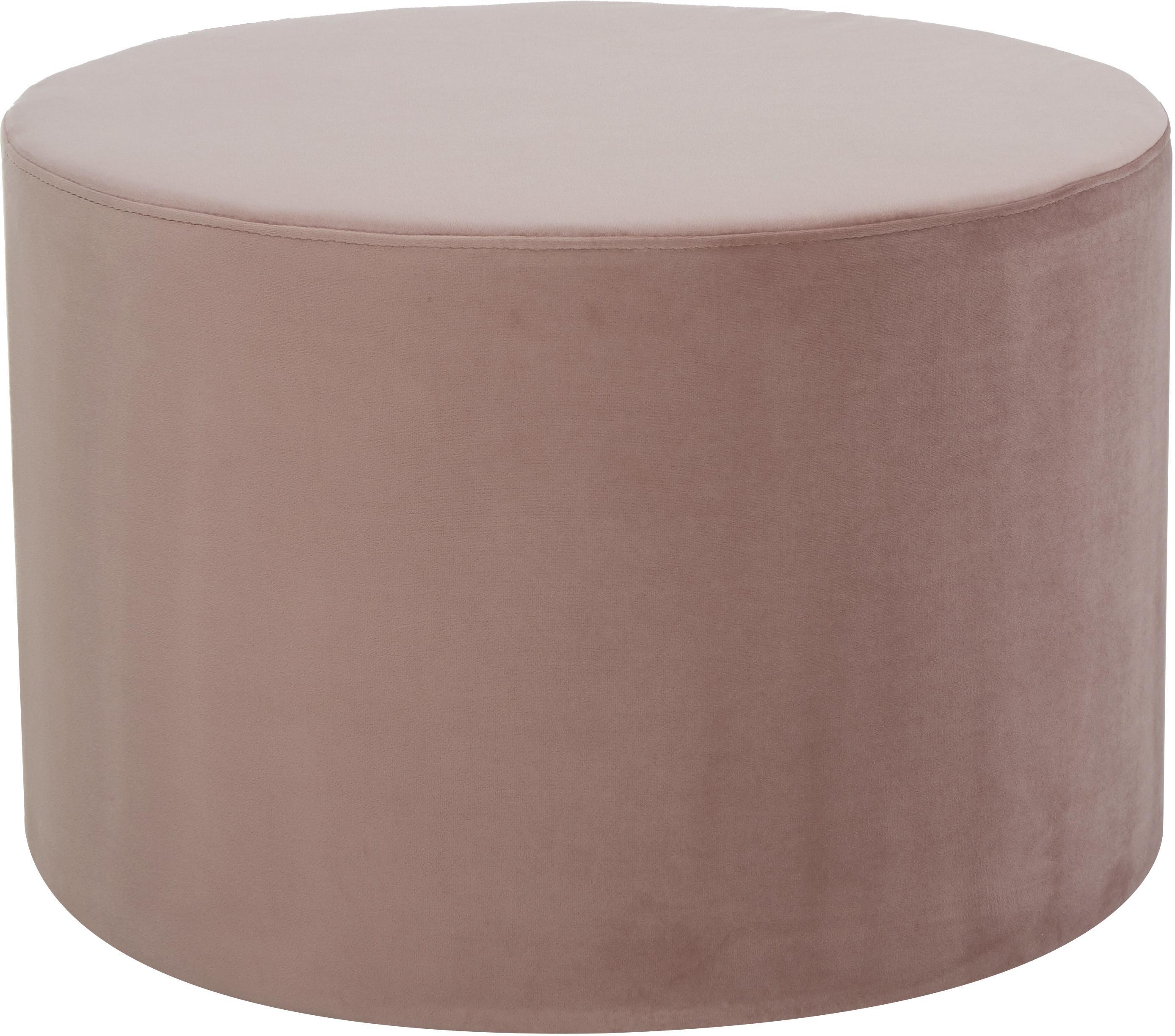 Pouf in velluto Daisy, Rivestimento: velluto (poliestere) 25.0, Struttura: compensato, Rosa, Ø 54 x Alt. 40 cm