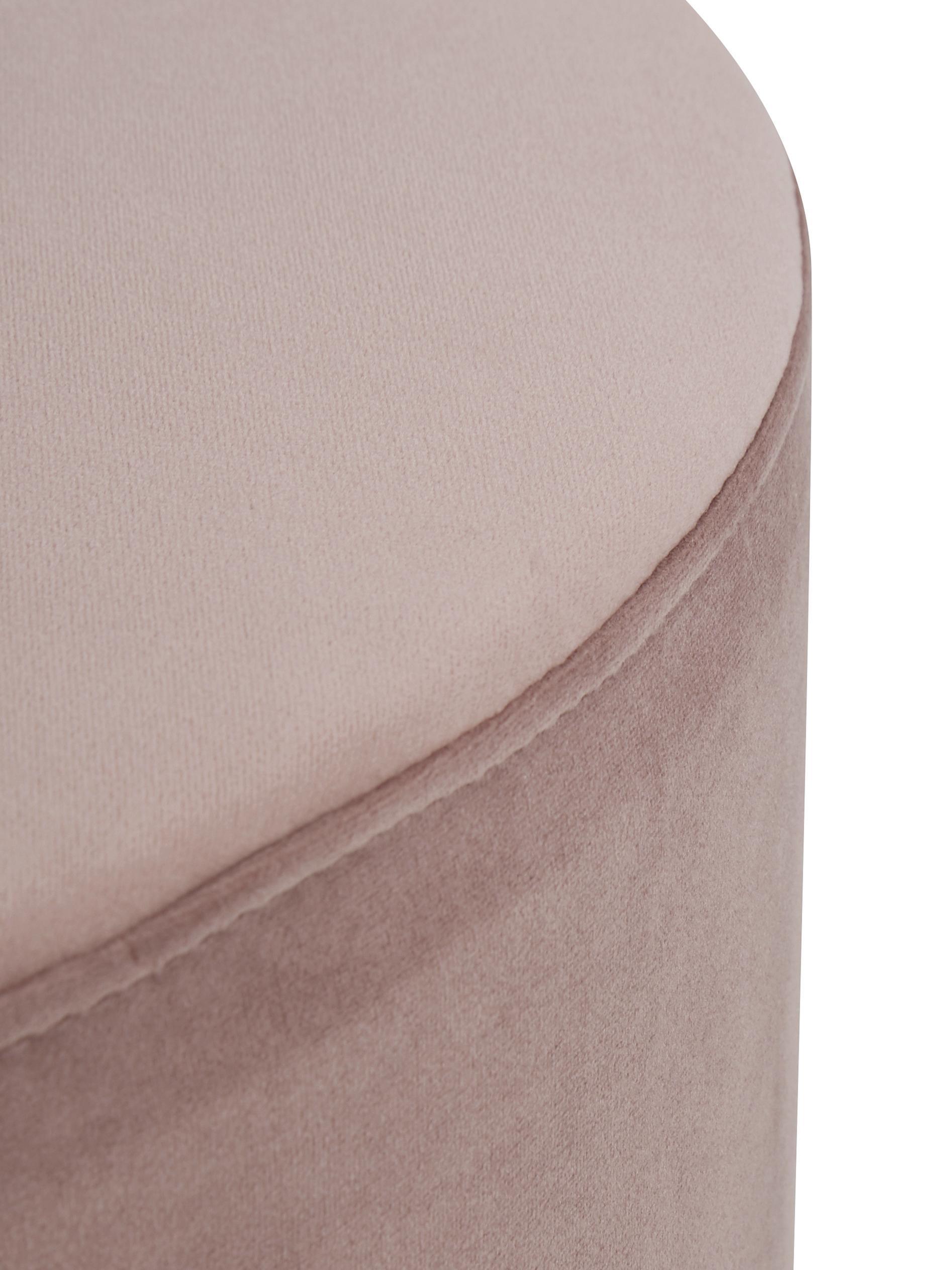 Puf z aksamitu Daisy, Tapicerka: aksamit (poliester) Tkani, Różowy, ∅ 54 x W 40 cm