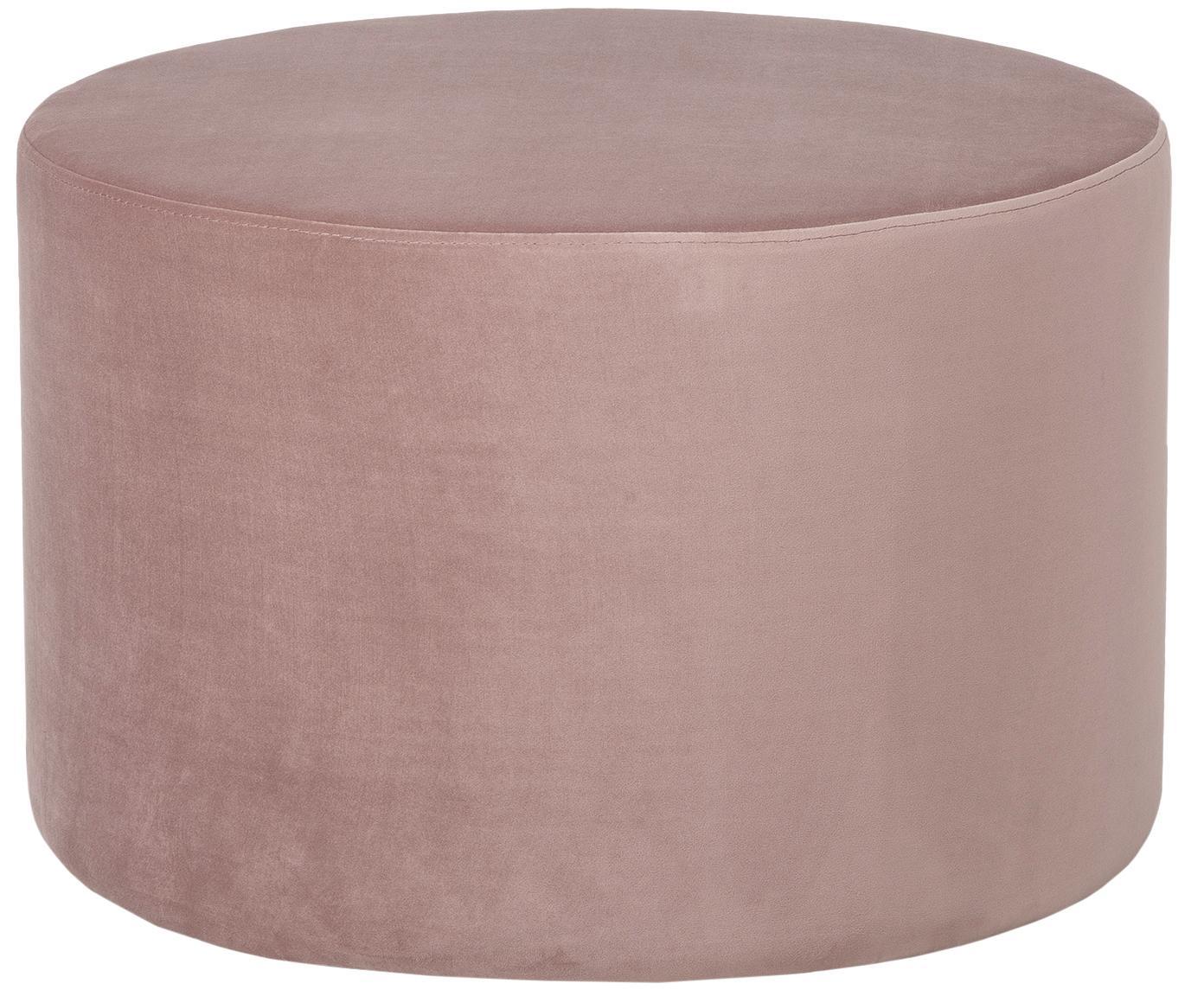 Fluwelen poef Daisy, Bekleding: fluweel (polyester), Frame: MDF, Roze, Ø 60 cm