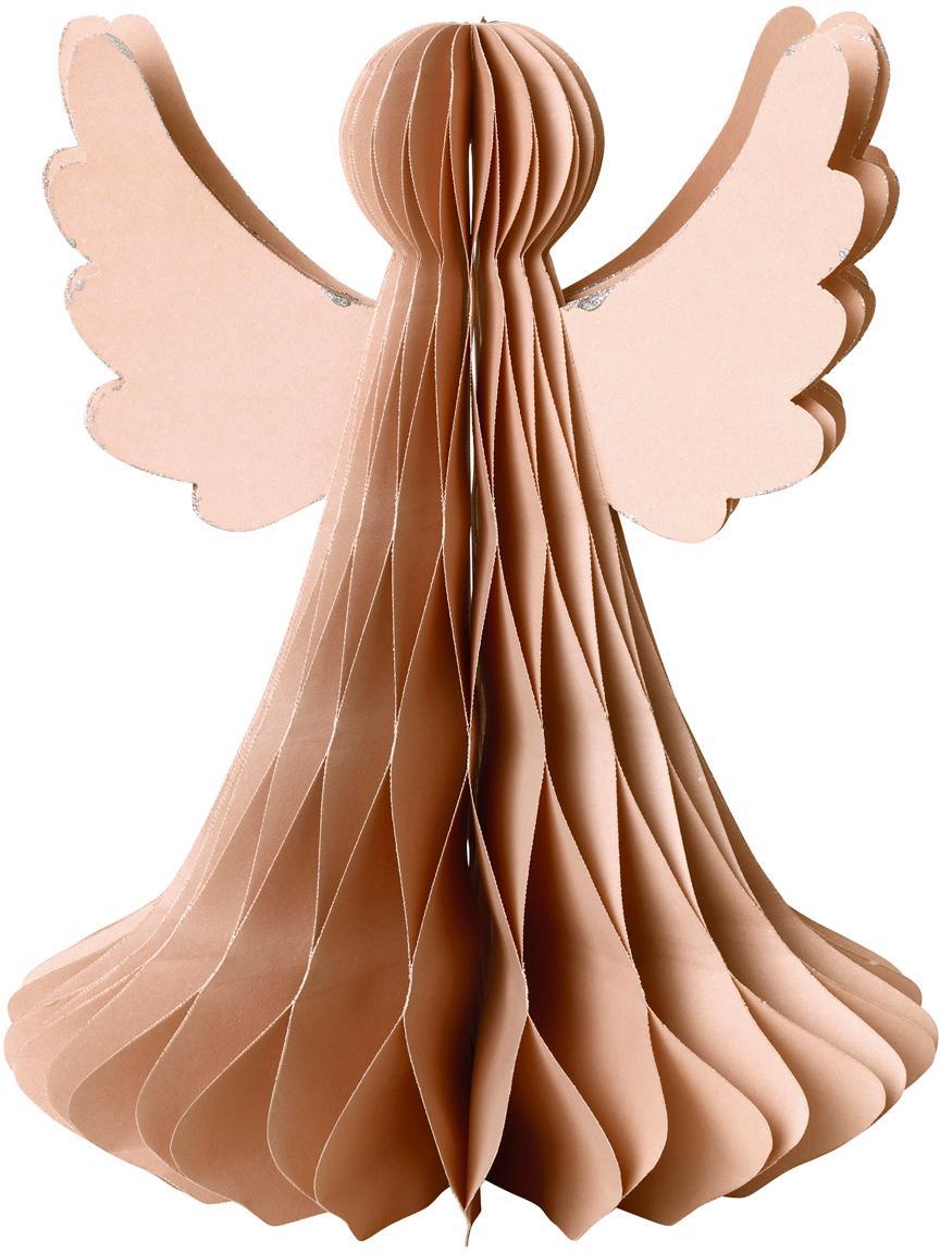 Pieza decorativa XL Angel, Papel, Rosa palo, Ø 21 x Al 27 cm