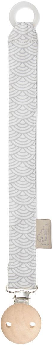 Schnullerkette Wave aus Bio-Baumwolle, Grau, Weiß, L 20 cm
