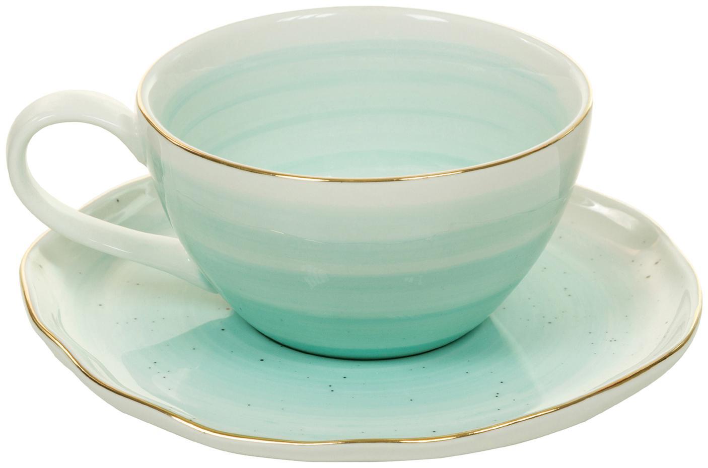 Set4 tazze fatte a mano  con bordo dorato Bol, Porcellana, Blu turchese, Ø 10 x Alt. 6 cm