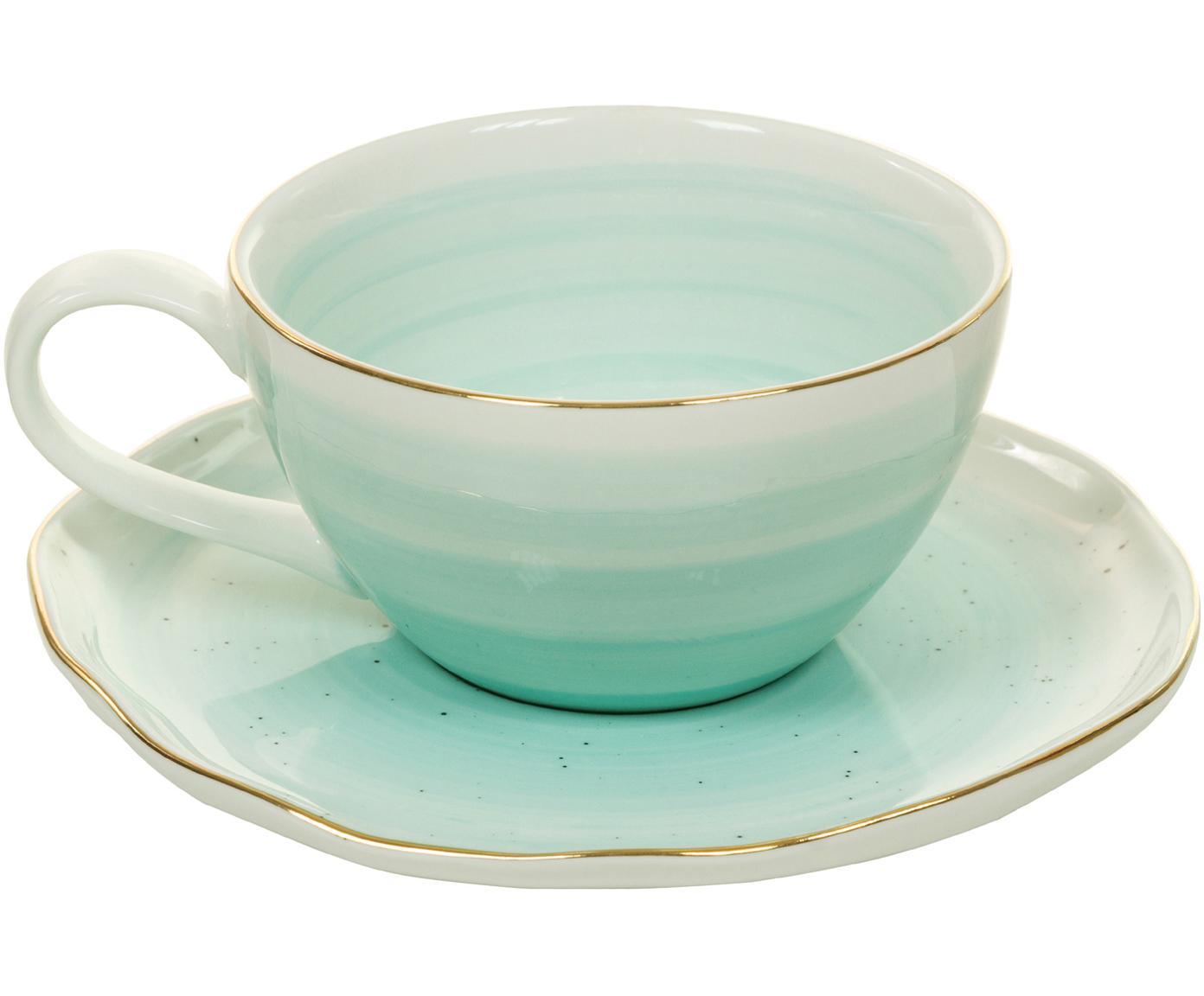 Handgemachte Tassen Bol mit Goldrand, 4er-Set, Porzellan, Türkisblau, Ø 10 x H 6 cm