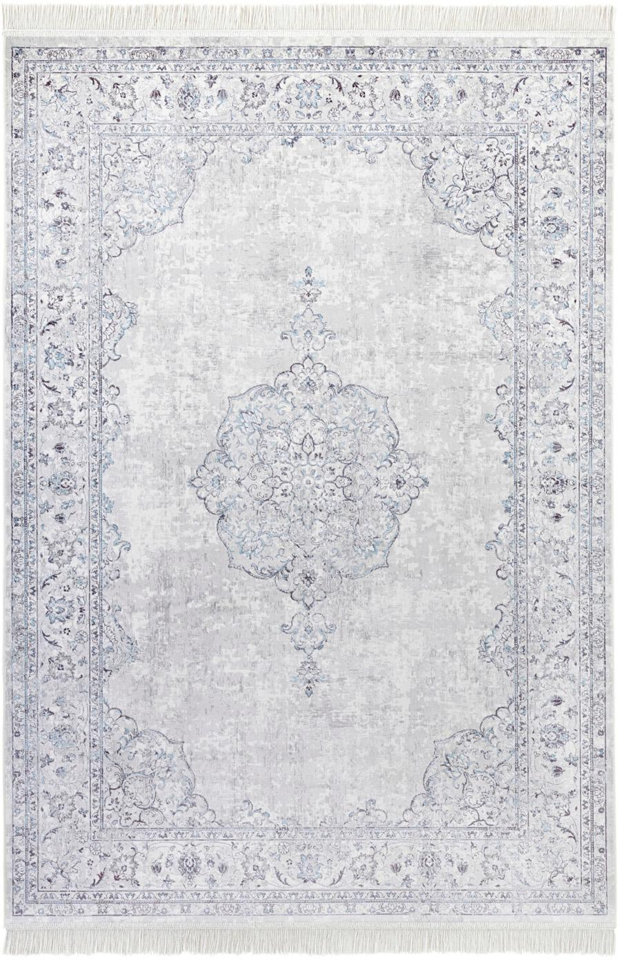 Teppich Medaillon im Vintage Look, 60% Viskose; 40% Baumwolle, Pastellblau, Hellgrau, B 95 x L 140 cm (Größe XS)