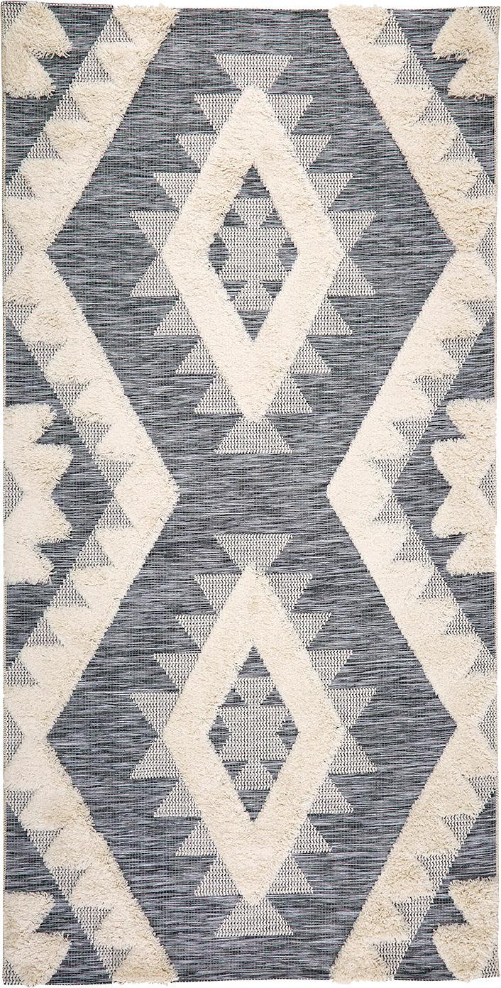 Tappeto reversibile da interno-esterno Tiddas, Retro: polipropilene, Crema, grigio, Larg. 80 x Lung. 150 cm (taglia XS)