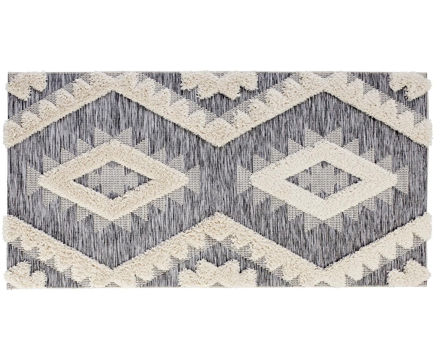Alfombra texturizada de interior/exterior Tiddas, Parte superior: 100%polipropileno, Reverso: polipropileno, Crema, gris, An 80 x L 150 cm (Tamaño XS)