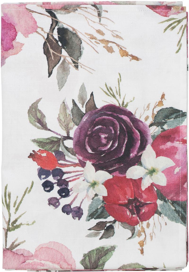 Mantel Florisia, 100%algodón, Rosa, blanco, An 160 x L 160 cm
