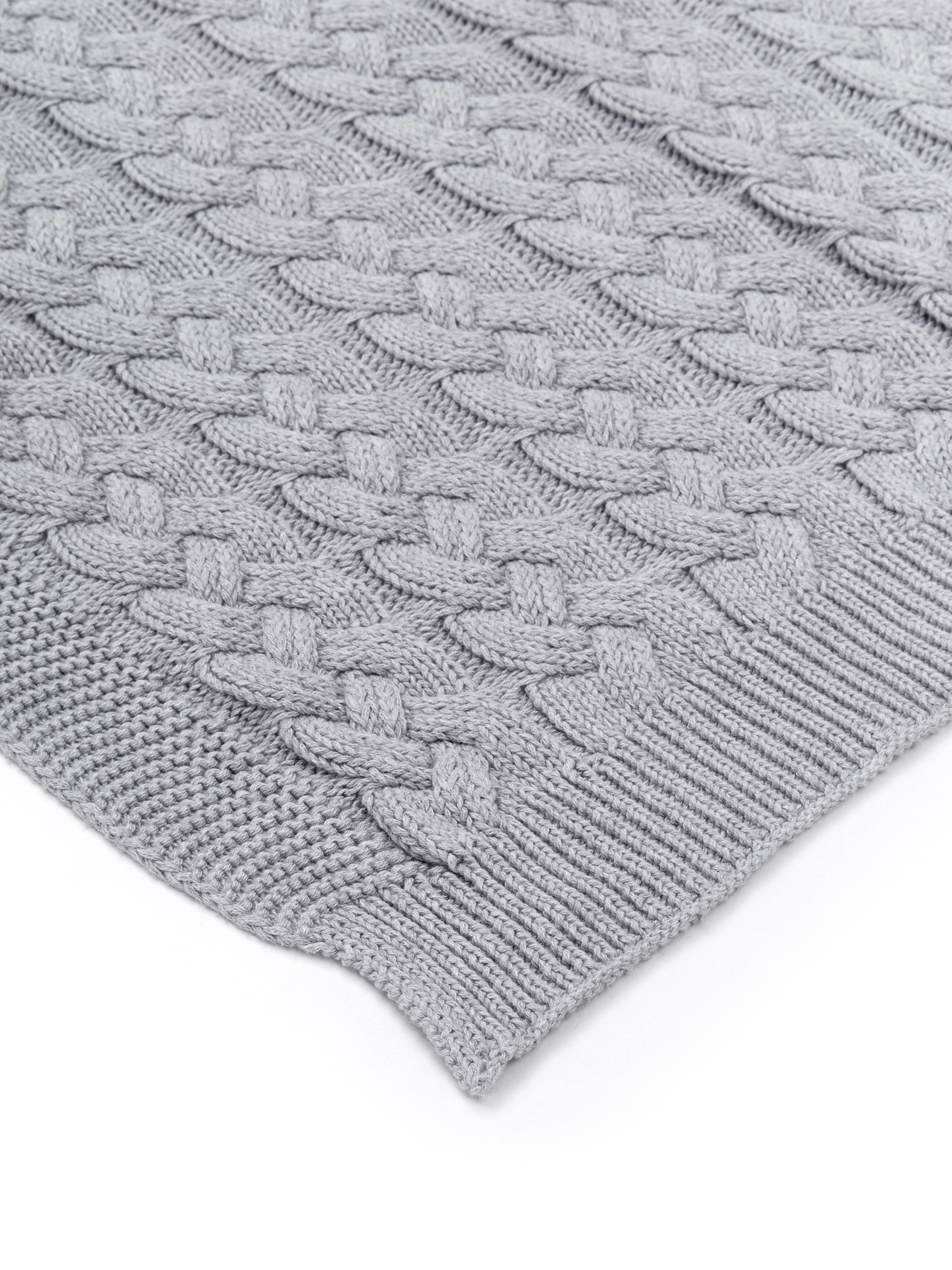 Strick-Plaid Caleb mit Zopfmuster, 100% Baumwolle, Grau, 130 x 170 cm