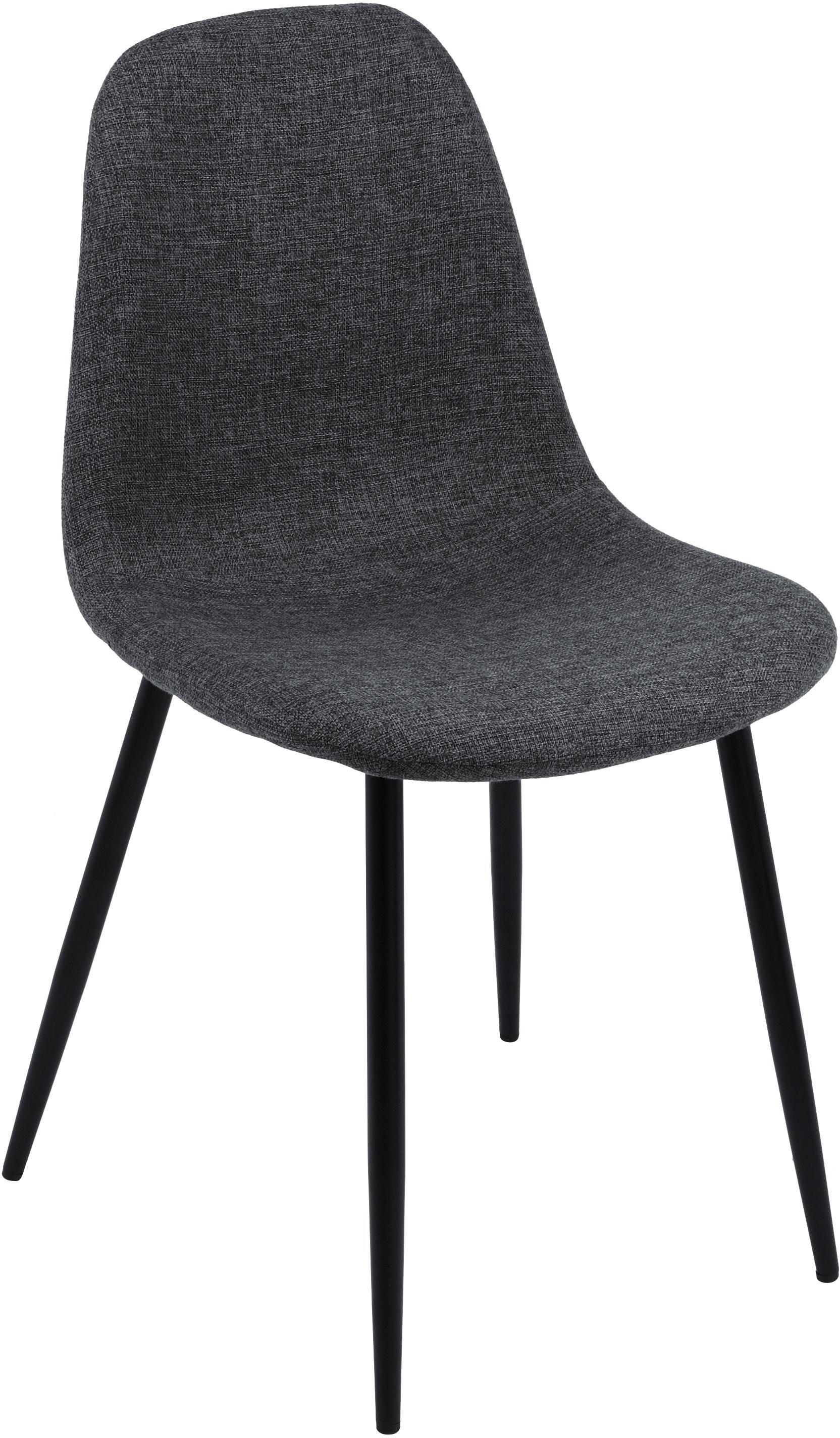 Polsterstühle Karla, 2 Stück, Bezug: 100 % Polyester, Füße: Metall, Webstoff Dunkelgrau, Beine Schwarz, B 44 x T 53 cm