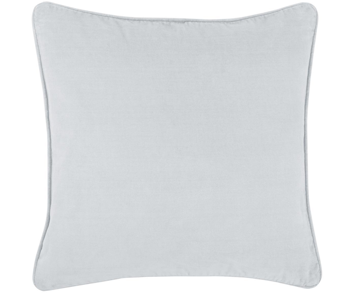 Federa arredo in velluto Dana, 100% velluto di cotone, Grigio chiaro, Larg. 40 x Lung. 40 cm