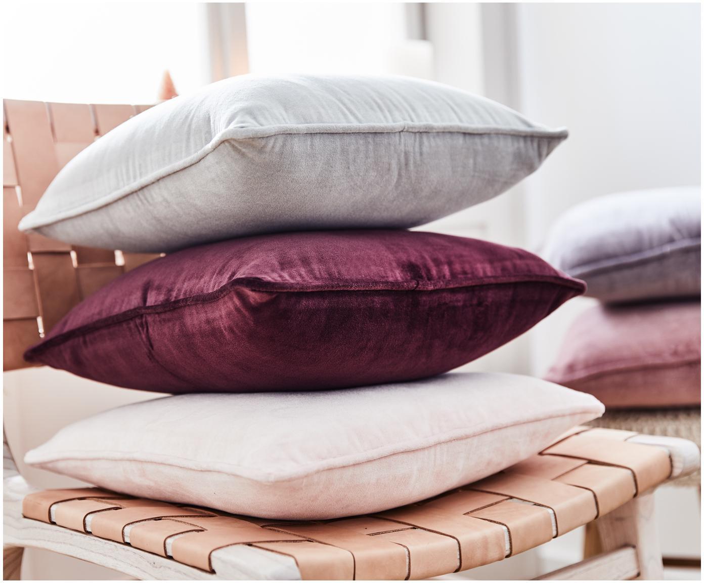 Poszewka na poduszkę z aksamitu Dana, 100% aksamit bawełniany, Jasny szary, S 40 x D 40 cm
