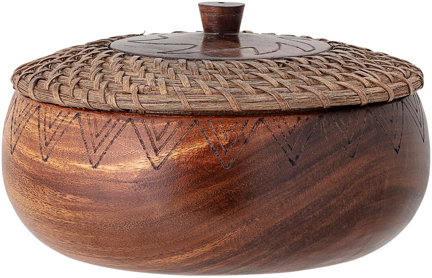 Grote schaal Femke van acaciahout met deksel, Ø 24cm, Geolied acaciahout, rotan, Bruin, Ø 24 x H 10 cm