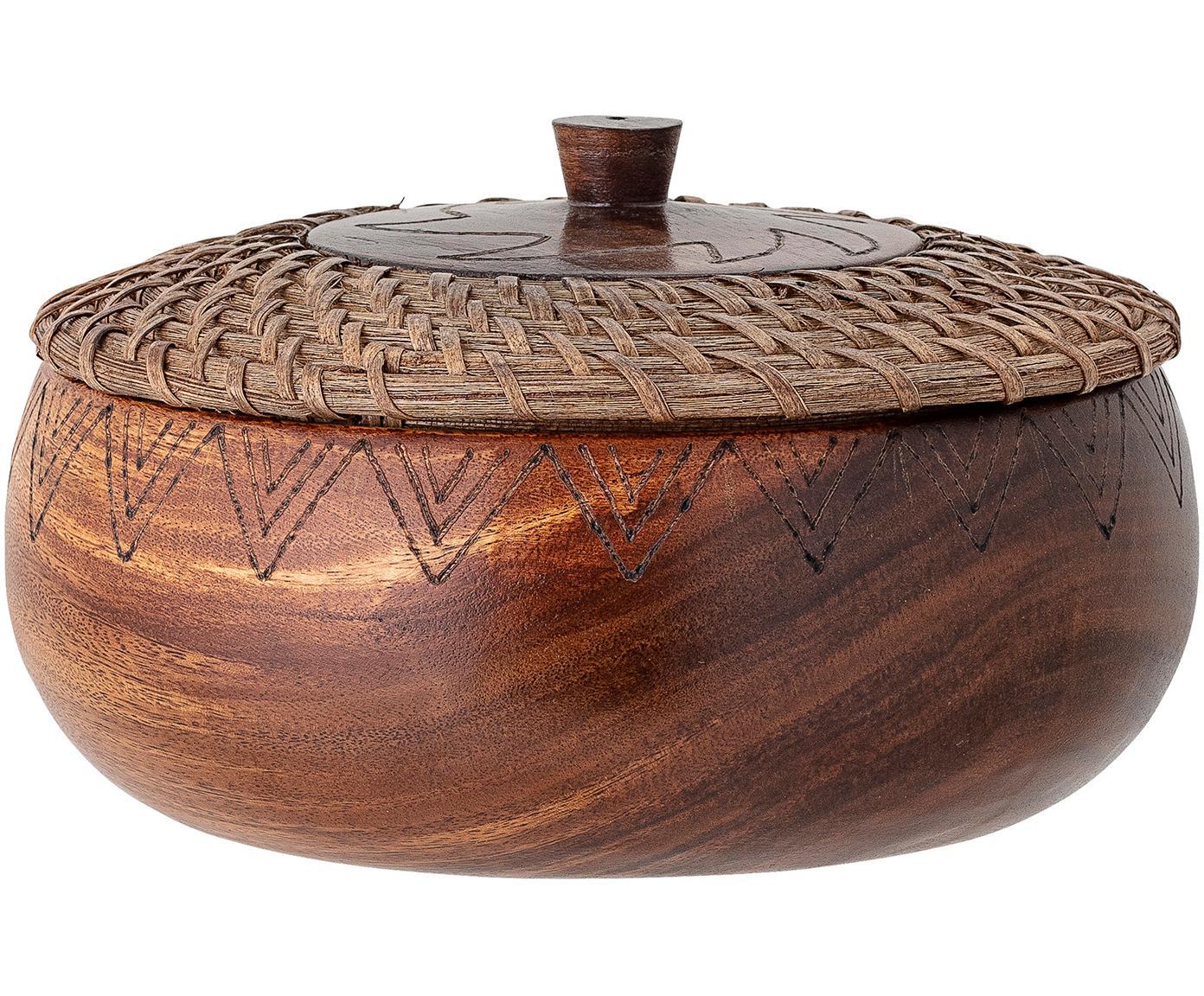 Grosse Schale Femke aus Akazienholz mit Deckel, Ø 24cm, Akazienholz, geölt, Rattan, Braun, Ø 24 cm x H 10 cm