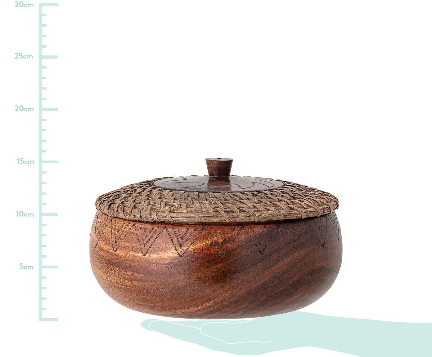 Contenitore in legno d'acacia con coperchio Femke, Legno d'acacia, oliato, rattan, Legno di quercia, Ø 24 x Alt. 10 cm