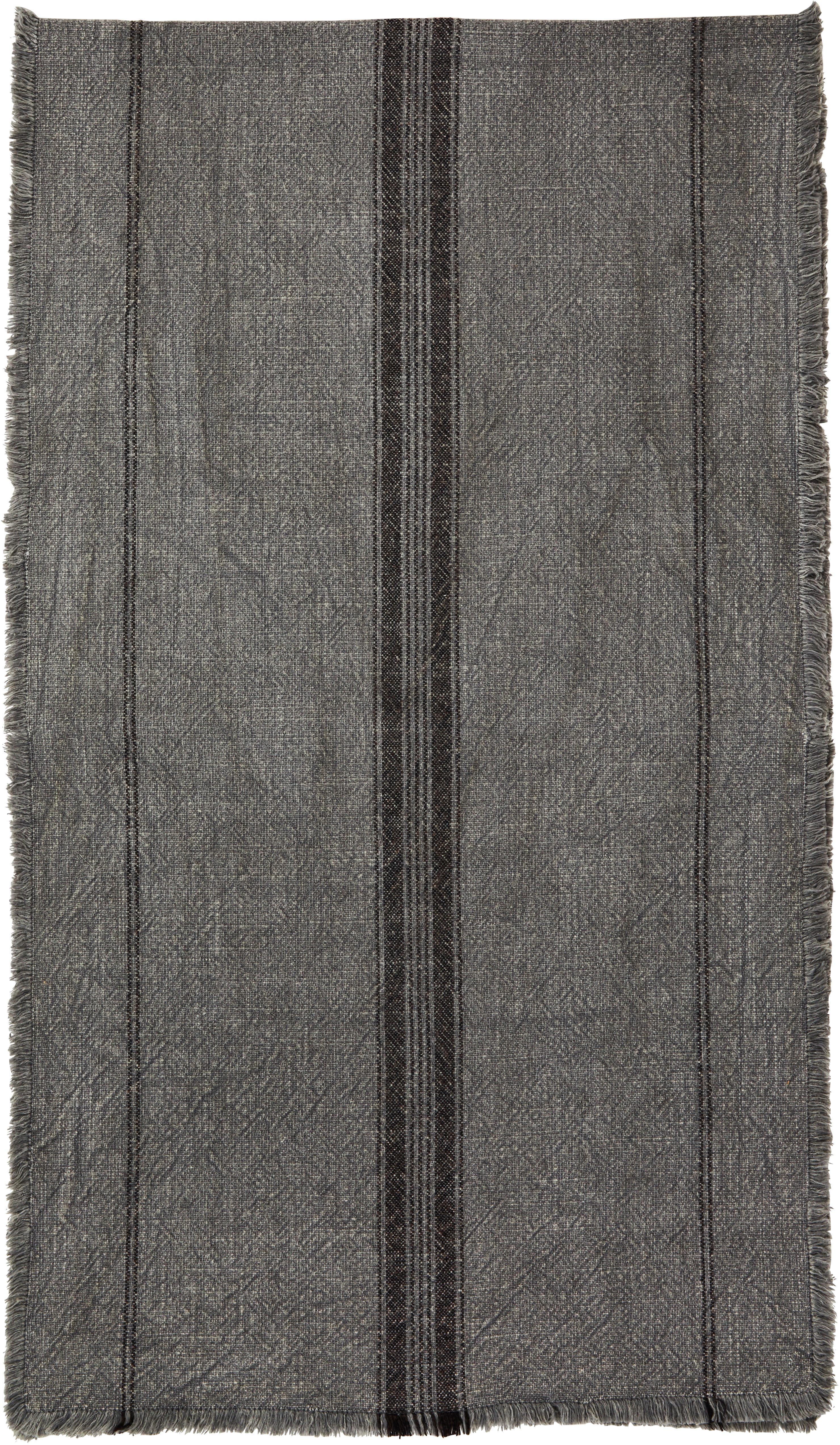 Camino de mesa Ripo, 100%algodón, Gris oscuro jaspeado, negro, An 40 x L 140 cm