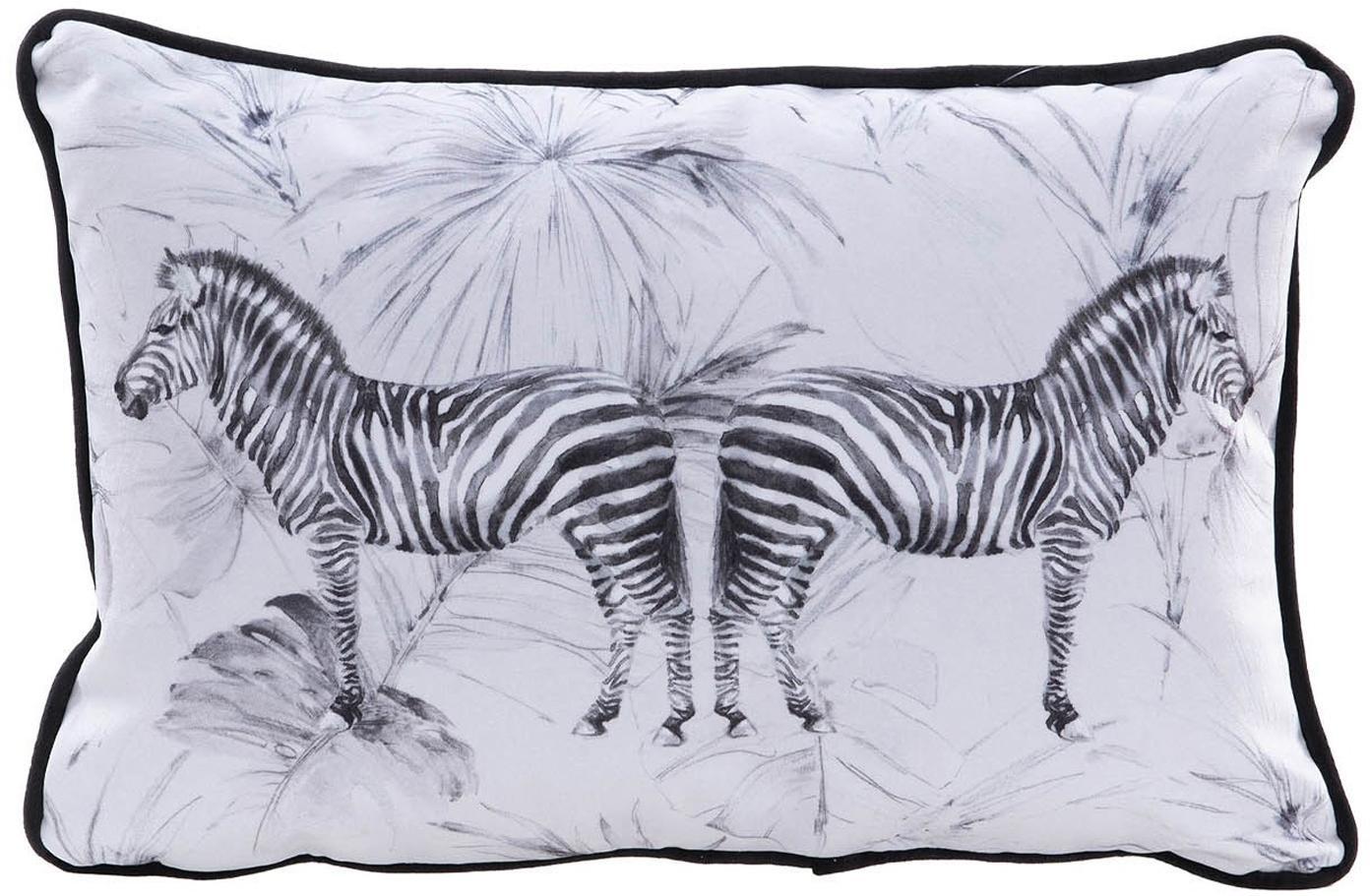 Cojín de terciopelo Zebra, con relleno, Terciopelo de poliéster, Blanco, negro, An 30 x L 45 cm