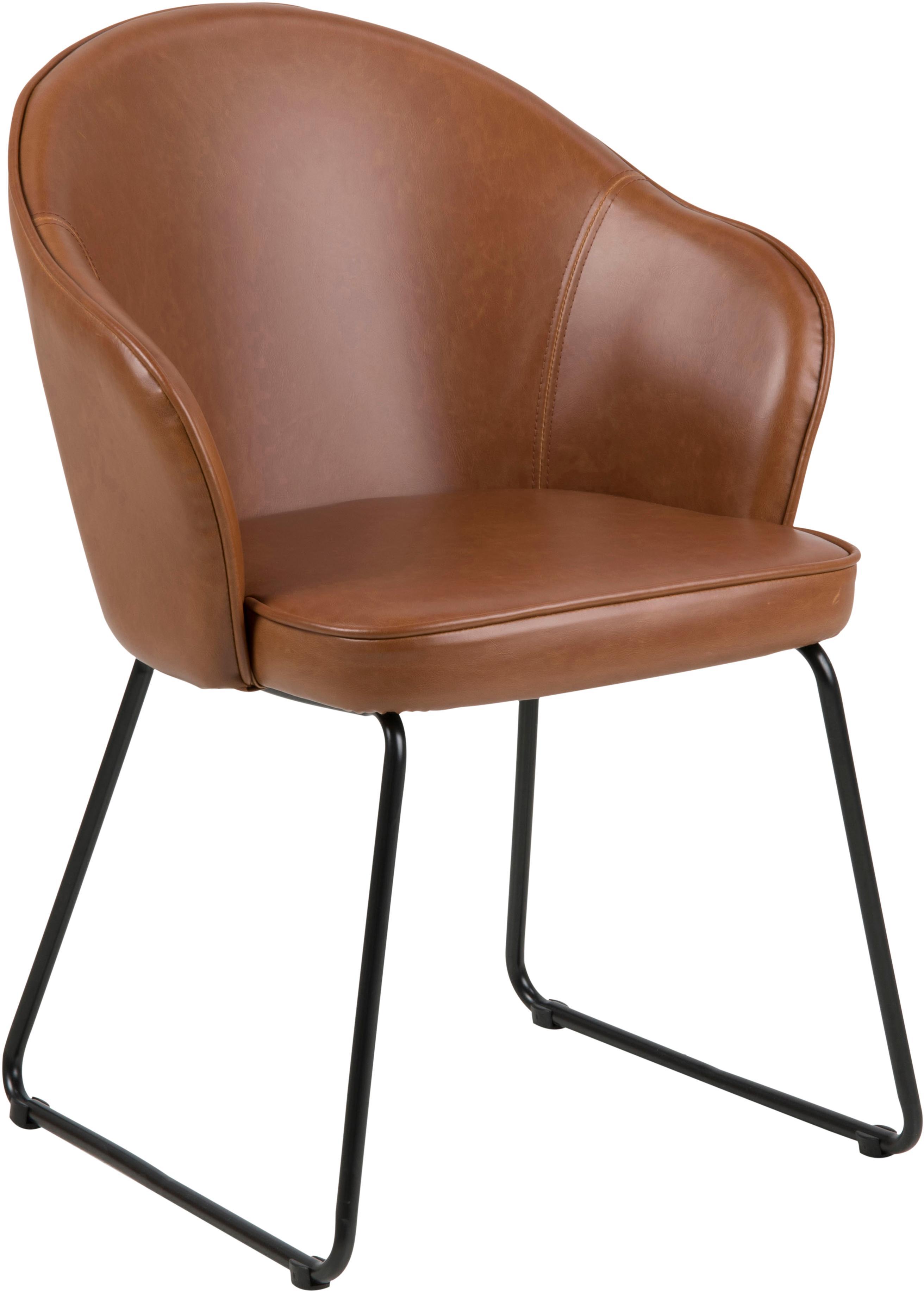 Silla con reposabrazos de cuero sintético Mitzie, Tapizado: poliuretano (cuero sintét, Patas: metal, pintado, Coñac, negro, An 57 x F 59 cm