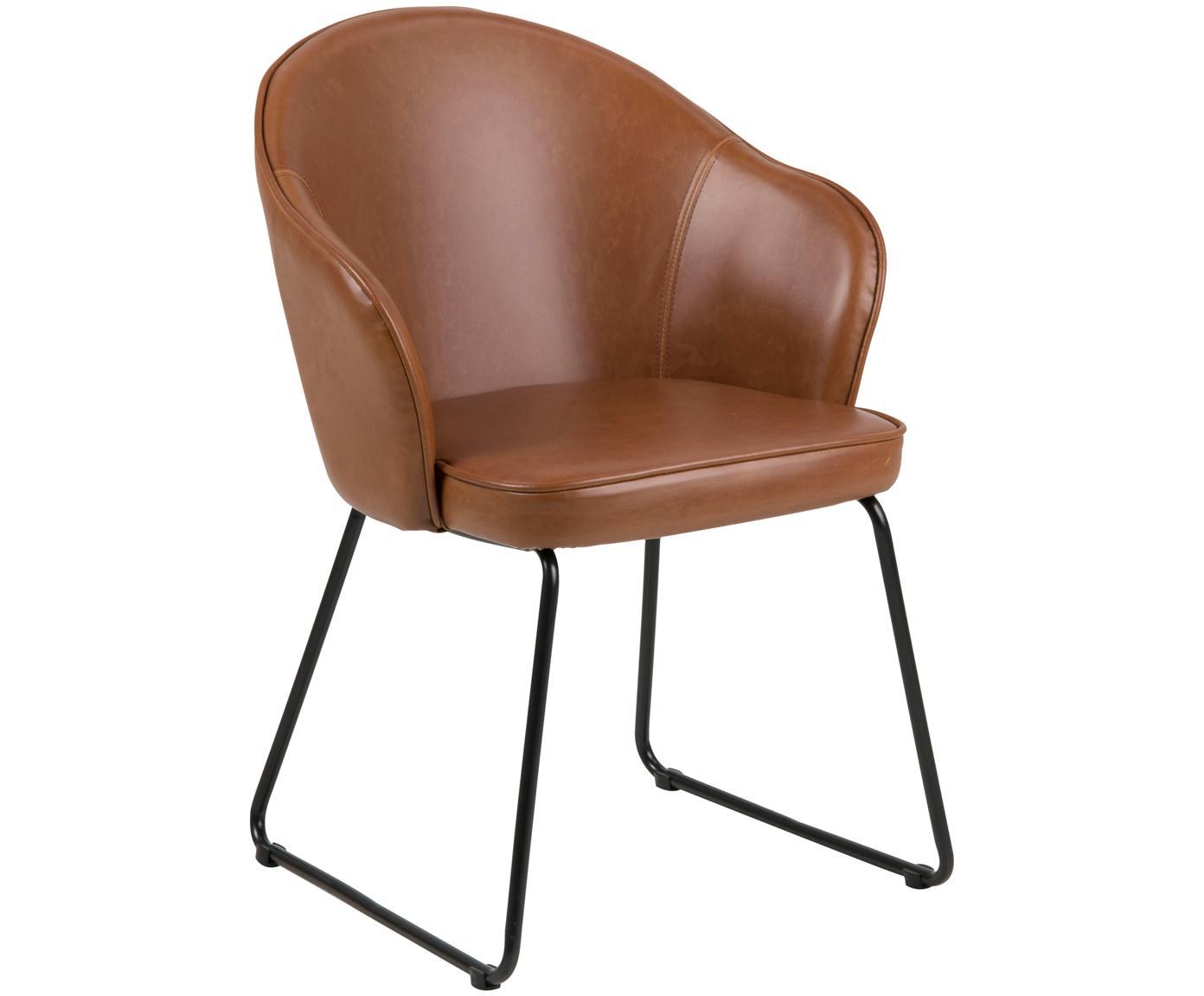 Kunstleren armstoel Mitzie, Bekleding: polyurethaan (kunstleer), Poten: gelakt metaal, Cognackleurig, zwart, B 57 x D 59 cm