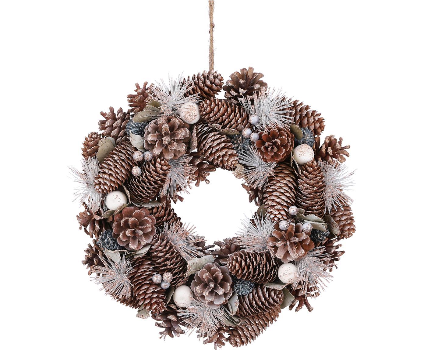 Corona navideña Nicole, Fibra natural, Marrón, blanco, Ø 34 x Al 9 cm
