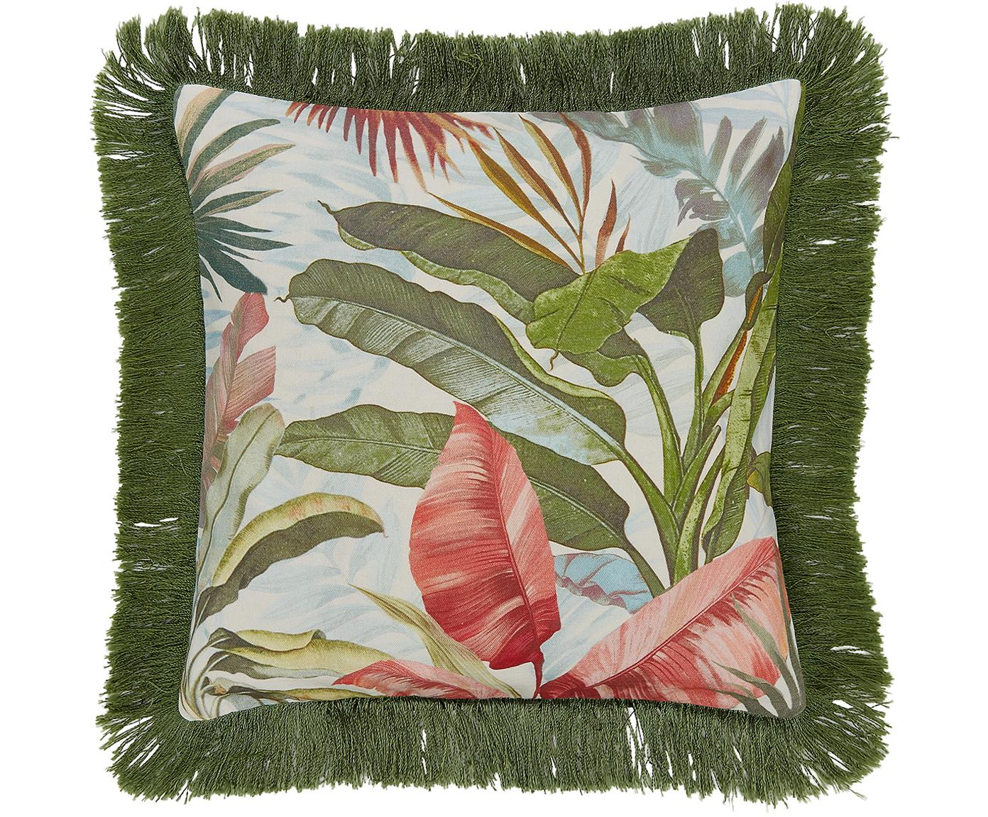 Federa arredo con frange  Hilda, Frange: viscosa, Multicolore Frange: verde scuro, Larg. 40 x Lung. 40 cm