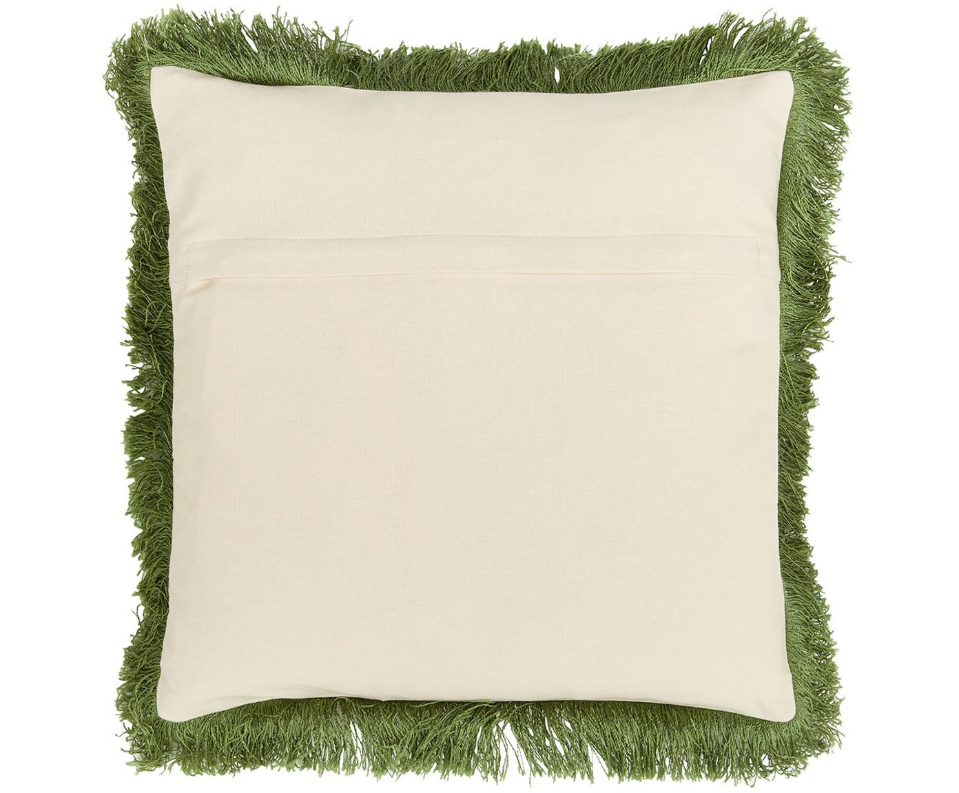 Kissenhülle Tropicana mit Fransen, Fransen: Viskose, MehrfarbigFransen: Dunkelgrün, 40 x 40 cm