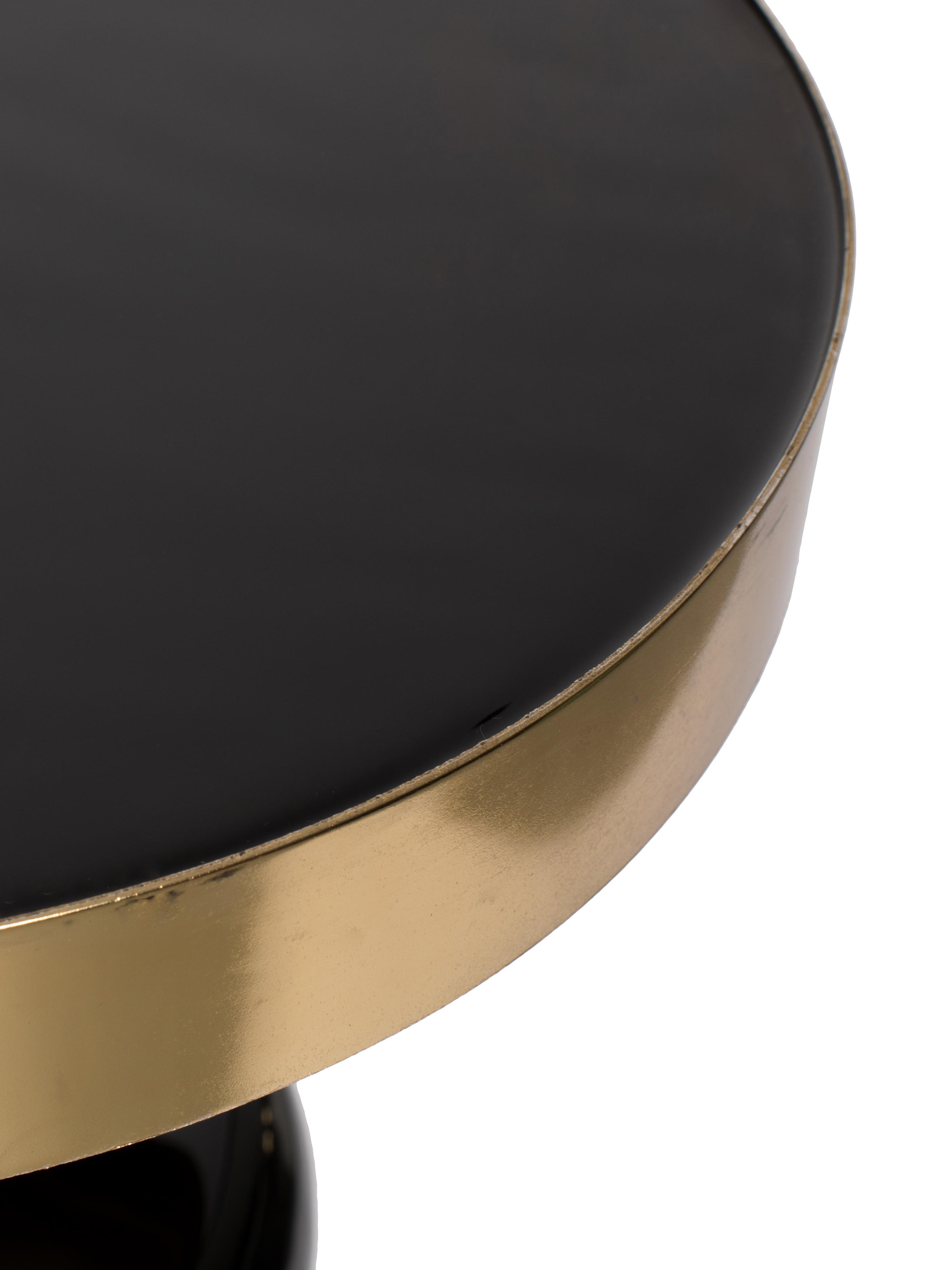 Emaille-Beistelltisch Glam in Schwarz, Tischplatte: Metall, emailliert, Gestell: Metall, pulverbeschichtet, Schwarz, Ø 36 x H 51 cm