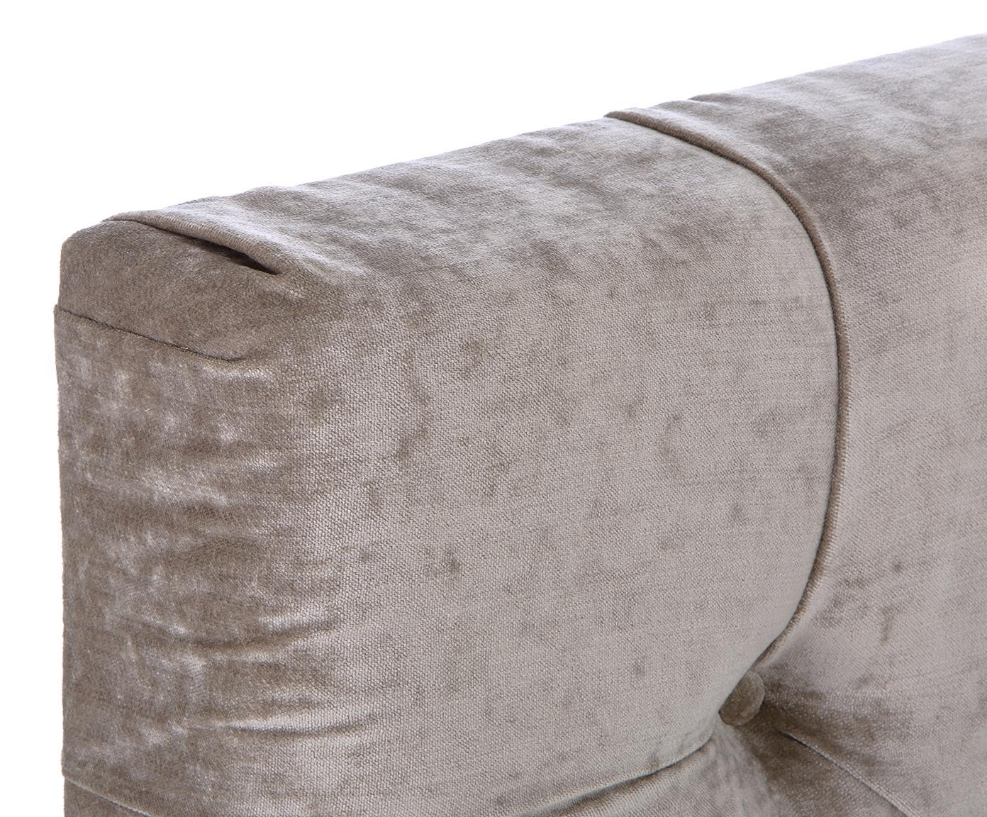 Letto Boxspring in velluto Premium Pheobe, Materasso: a molle insacchettate a 7, Piedini: legno massello di faggio,, Taupe, 200 x 200