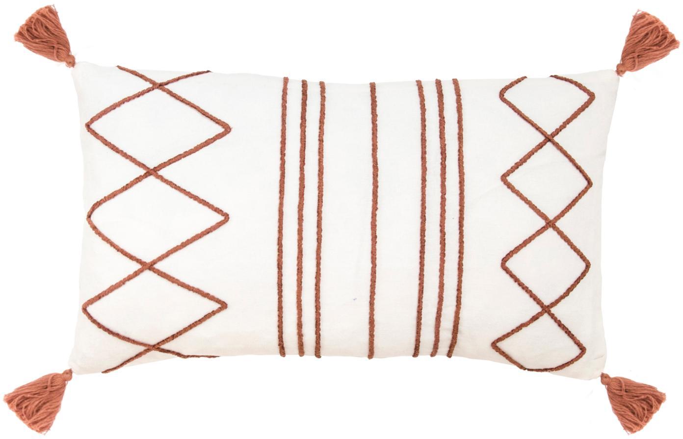 Federa arredo con ricami e nappe Istanbul, 50% cotone, 50% velluto, Bianco, rosso, Larg. 30 x Alt. 50 cm