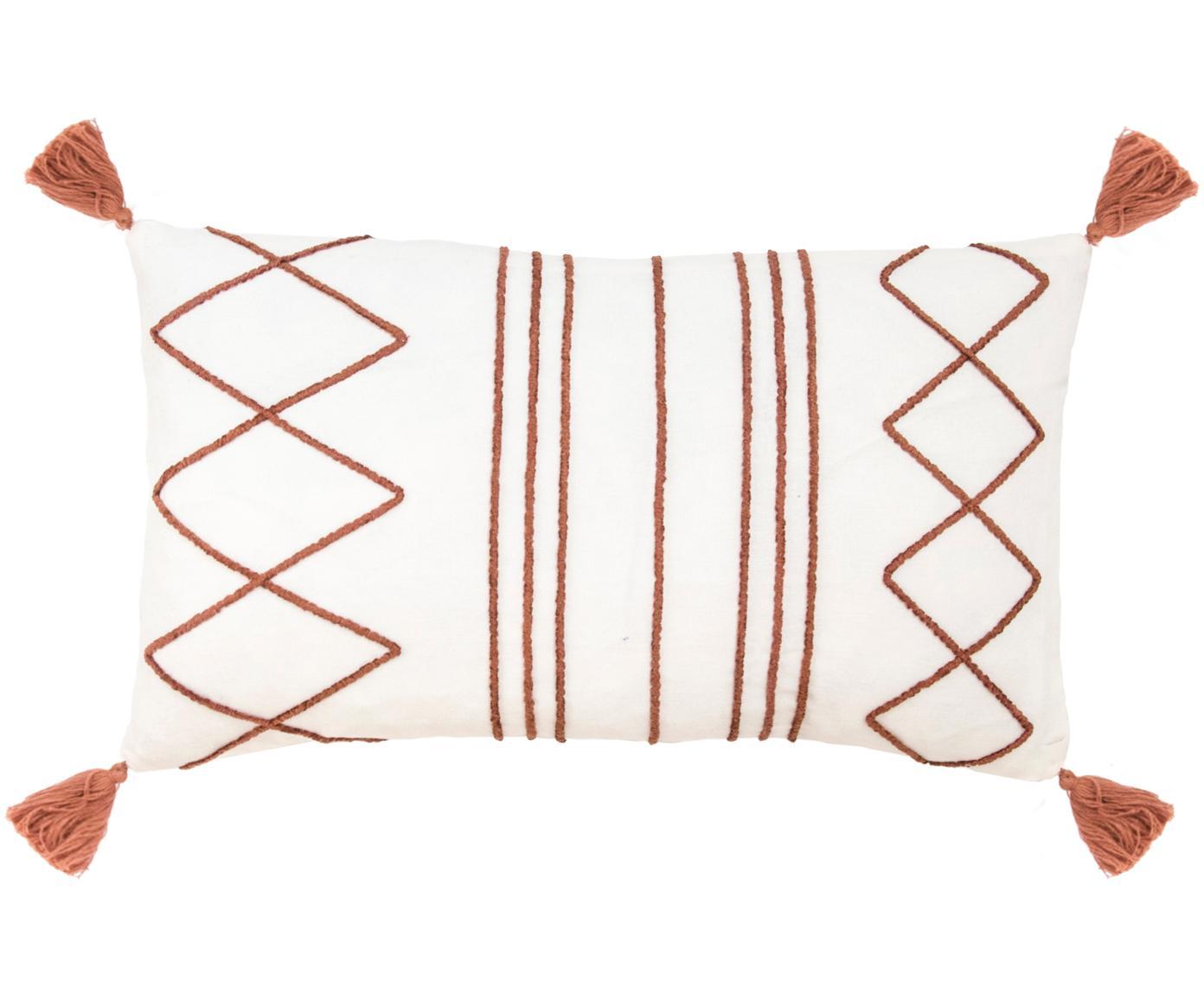 Kussenhoes Istanbul met hoog-laag patroon van chenille en kwastjes, Katoen, Wit, rood, 30 x 50 cm