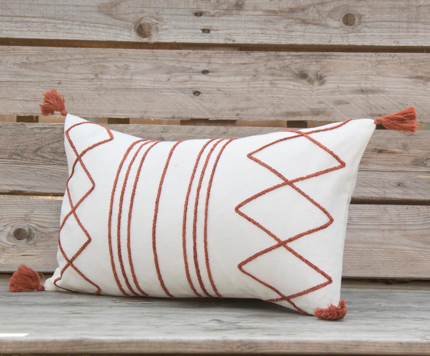 Poszewka na poduszkę z chwostami Istanbul, 100% bawełna, Biały, czerwony, S 30 x D 50 cm