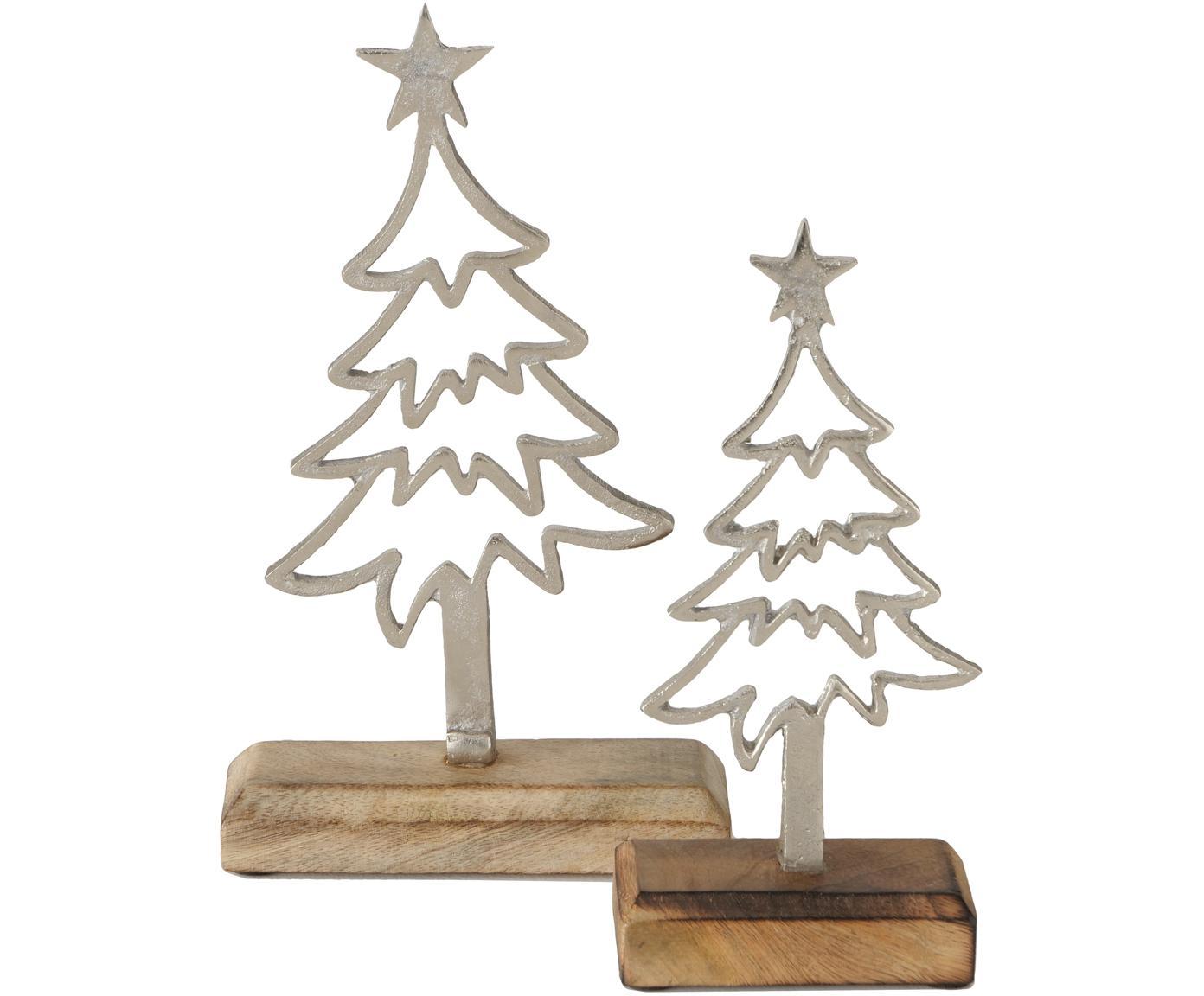 Set 2 oggetti decorativi Murmansk, Legno di mango, alluminio nichelato, Legno di mango, nichel, Diverse dimensioni