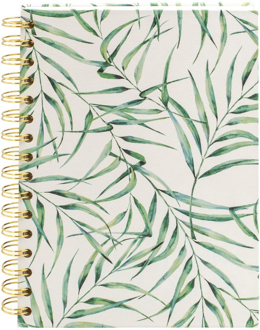 Notizbuch Leaf, Weiß, Grün, 16 x 21 cm