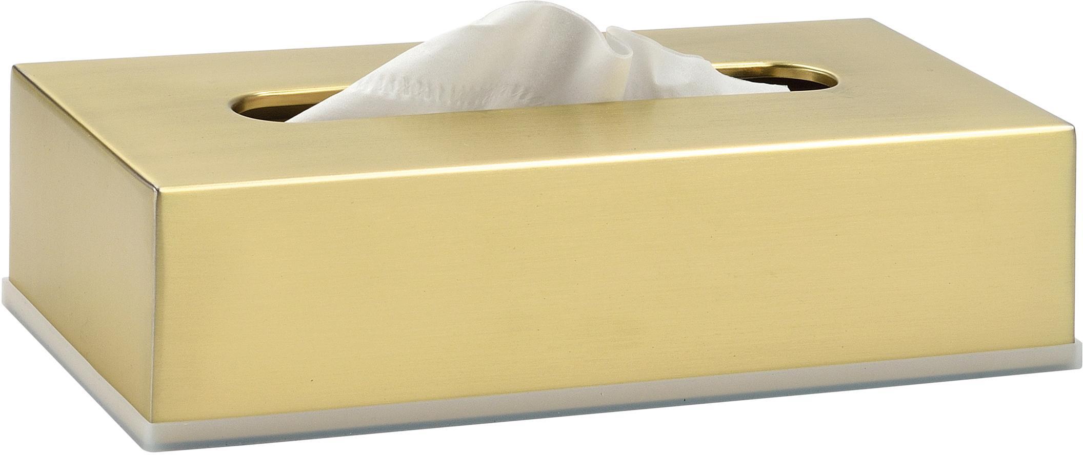Kosmetiktuchbox Acton, Edelstahl, beschichtet, Messingfarben, 26 x 7 cm