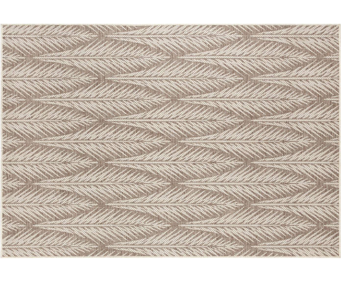 Design In- & Outdoor-Teppich Pella mit grafischem Muster, 100% Polypropylen, Taupe, Beige, B 70 x L 140 cm (Größe XS)