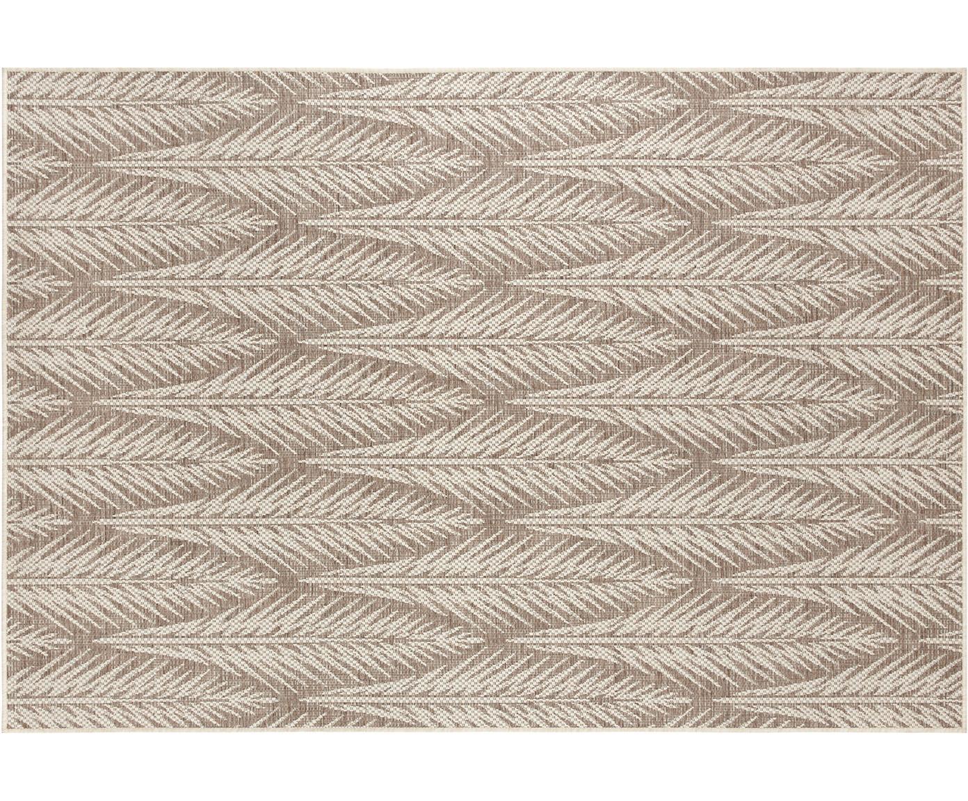 Design in- en outdoor vloerkleed Pella met grafisch patroon, Polypropyleen, Taupe, beige, B 70 x L 140 cm (maat XS)