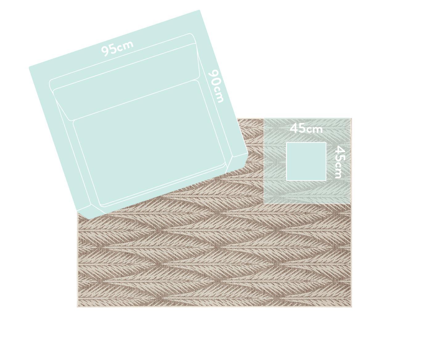 Design in- en outdoor vloerkleed Pella met grafisch patroon, Polypropyleen, Taupe, beige, B 200 x L 290 cm (maat L)